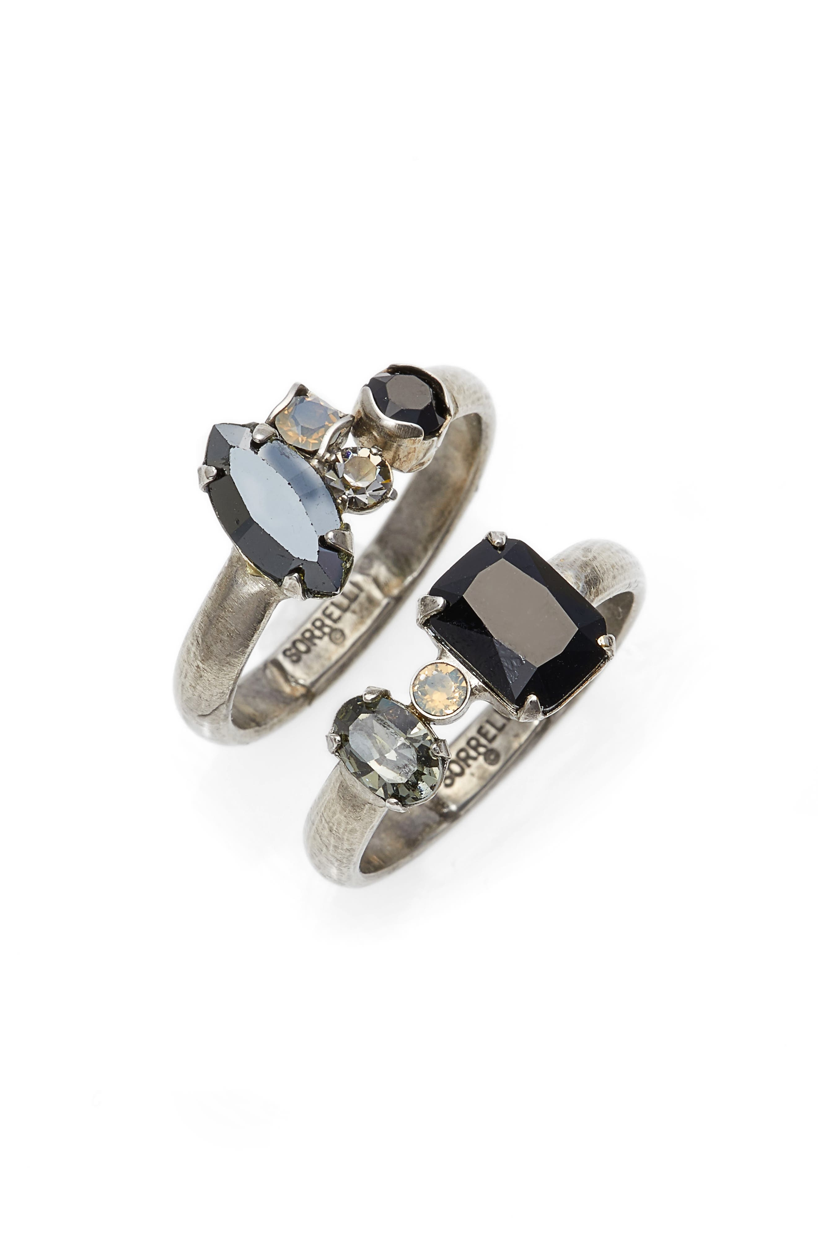 Double Up Two-Piece Stackable Ring Set,                             Main thumbnail 1, color,                             Black