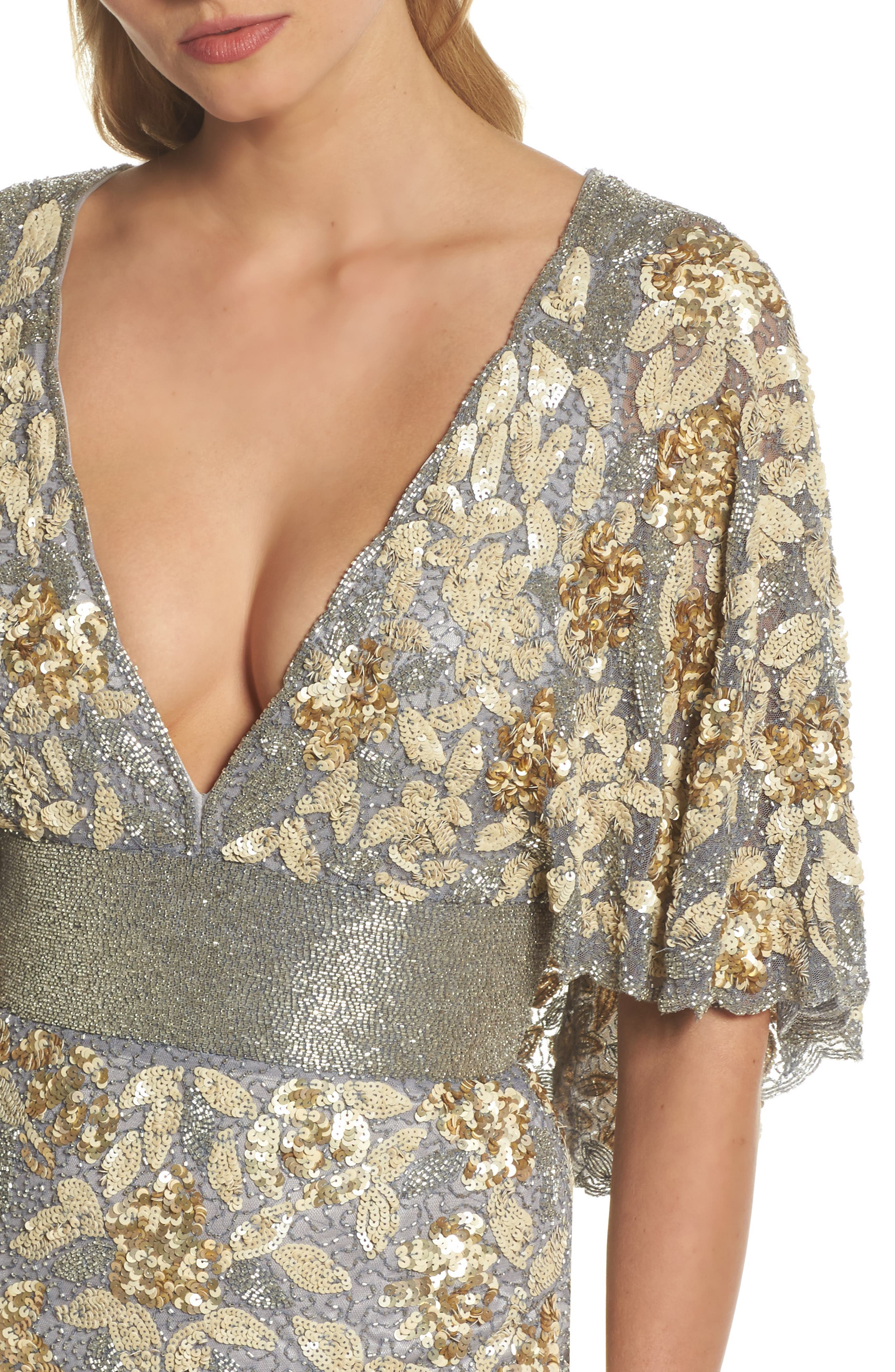 Sequin & Bead Embellished Gown,                             Alternate thumbnail 4, color,                             Platinum/ Gold