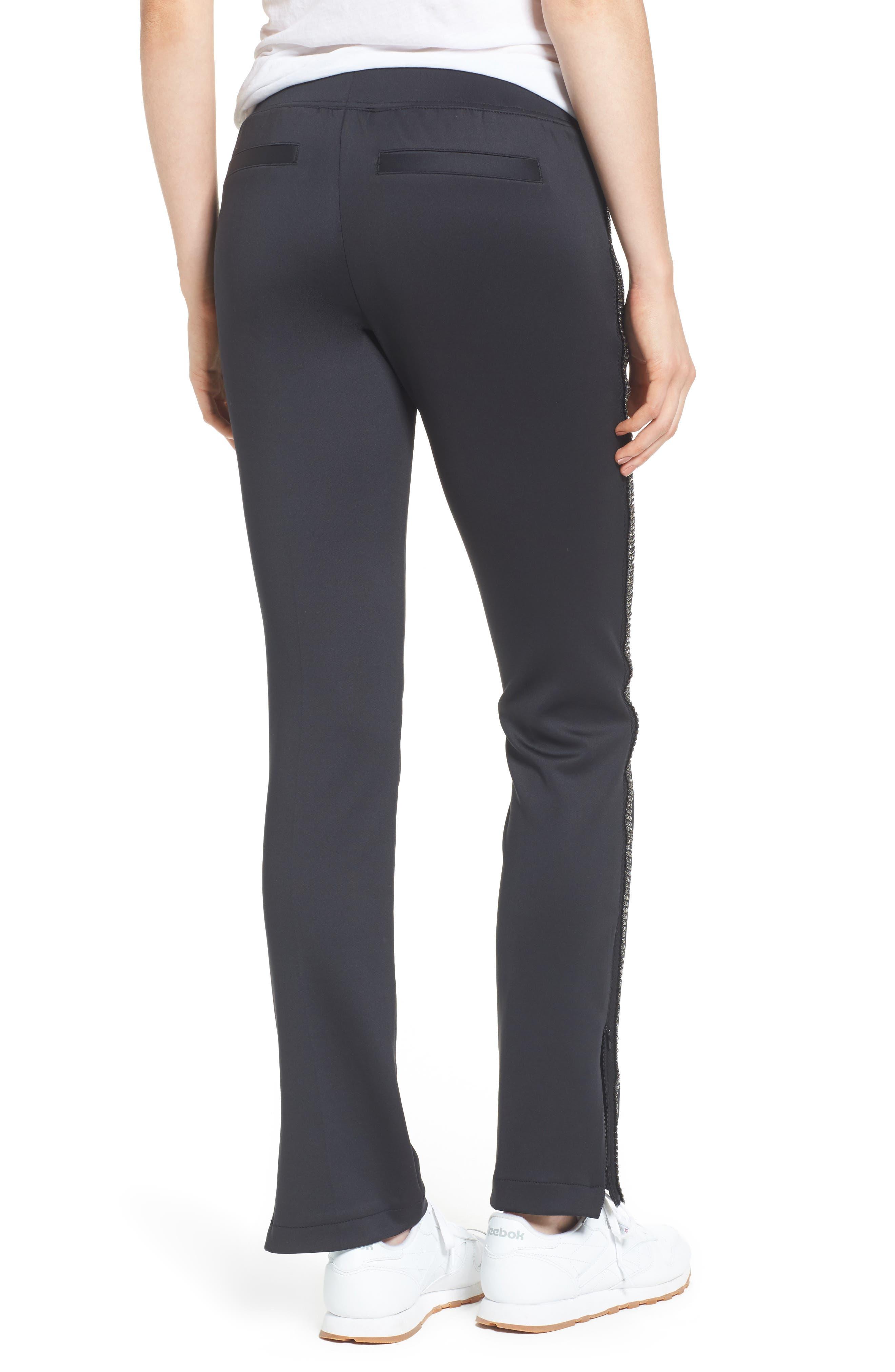 Rhinestone Side Stripe Track Pants,                             Alternate thumbnail 2, color,                             Black