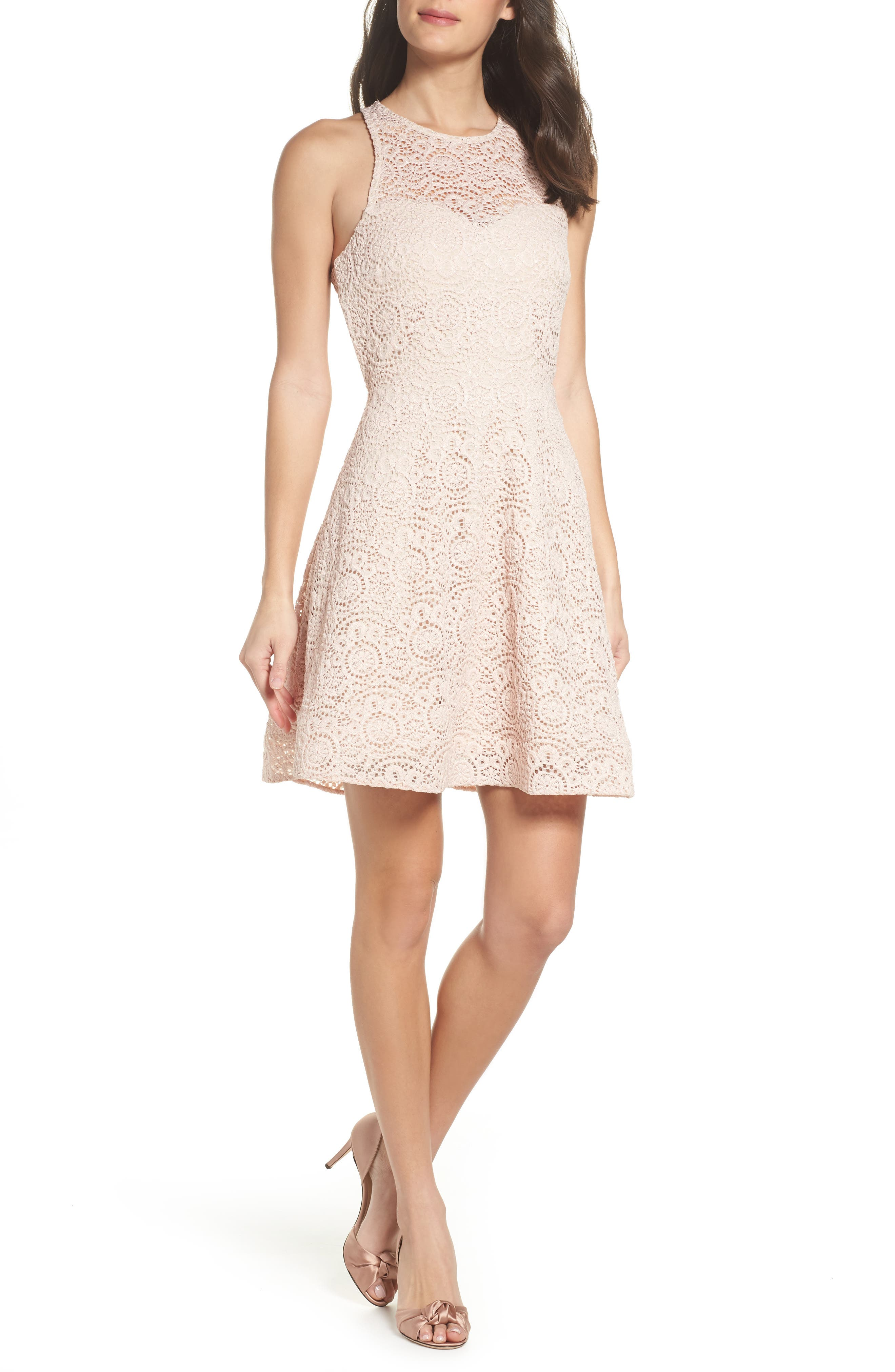 Main Image - Sequin Hearts Glitter Lace Strappy Back Party Dress