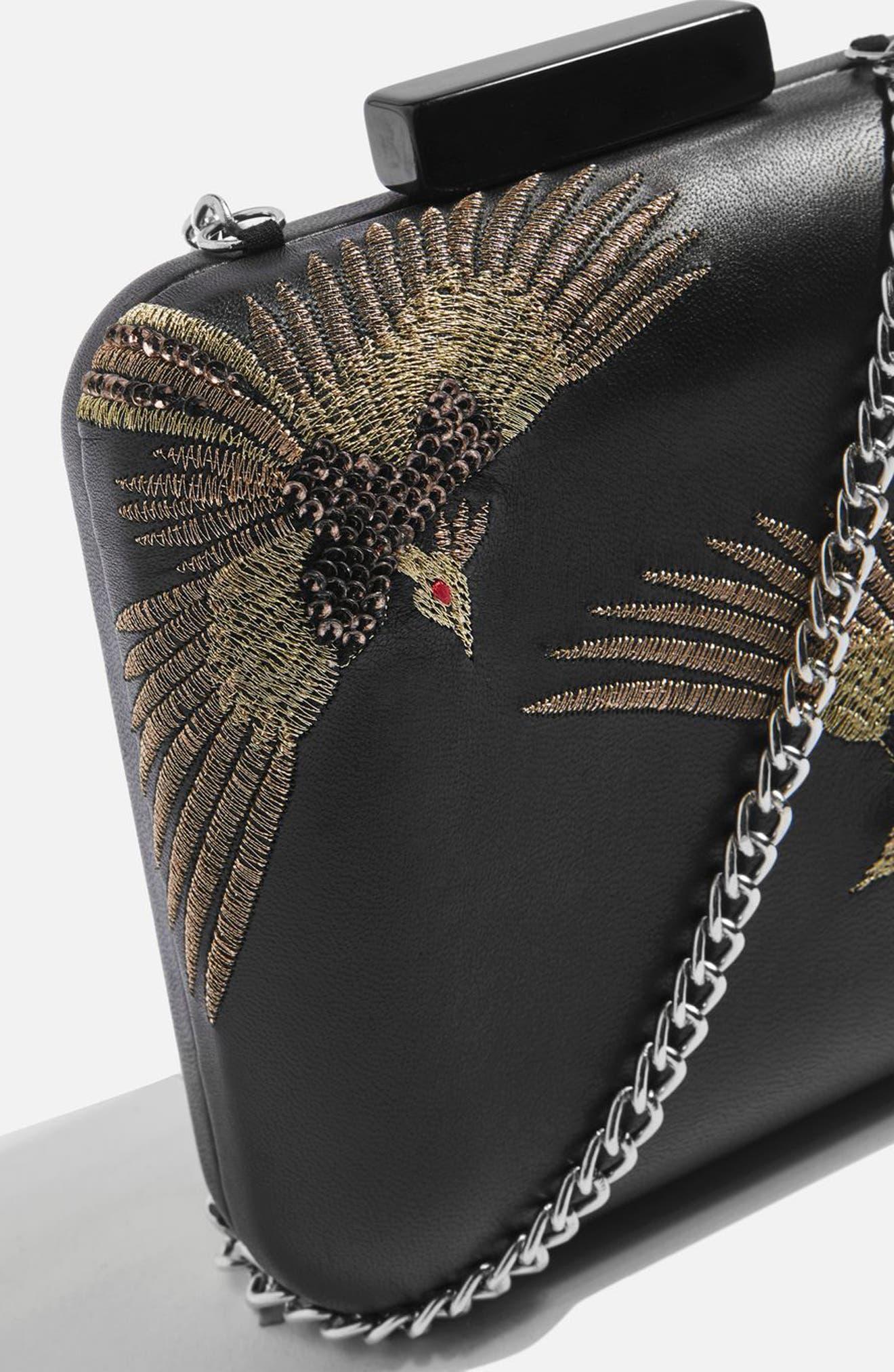 Embroidered Bird Boxy Leather Crossbody Bag,                             Alternate thumbnail 4, color,                             Black Multi