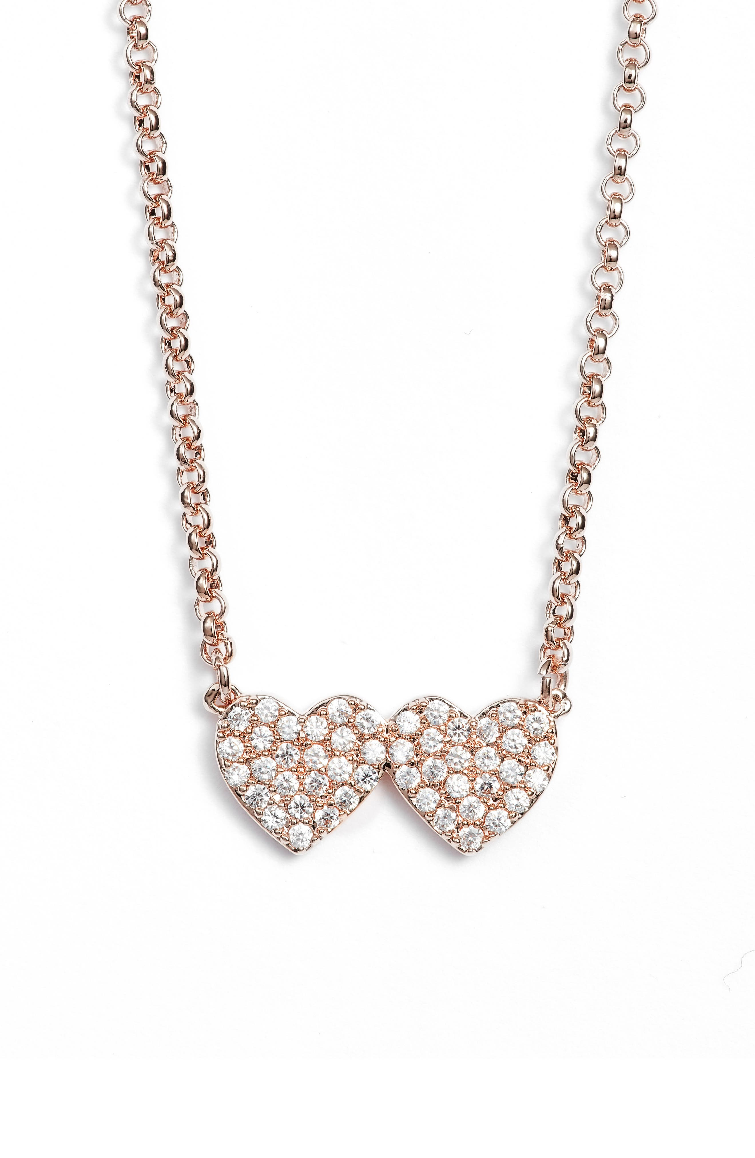 yours truly pave heart necklace,                         Main,                         color, Rose Gold