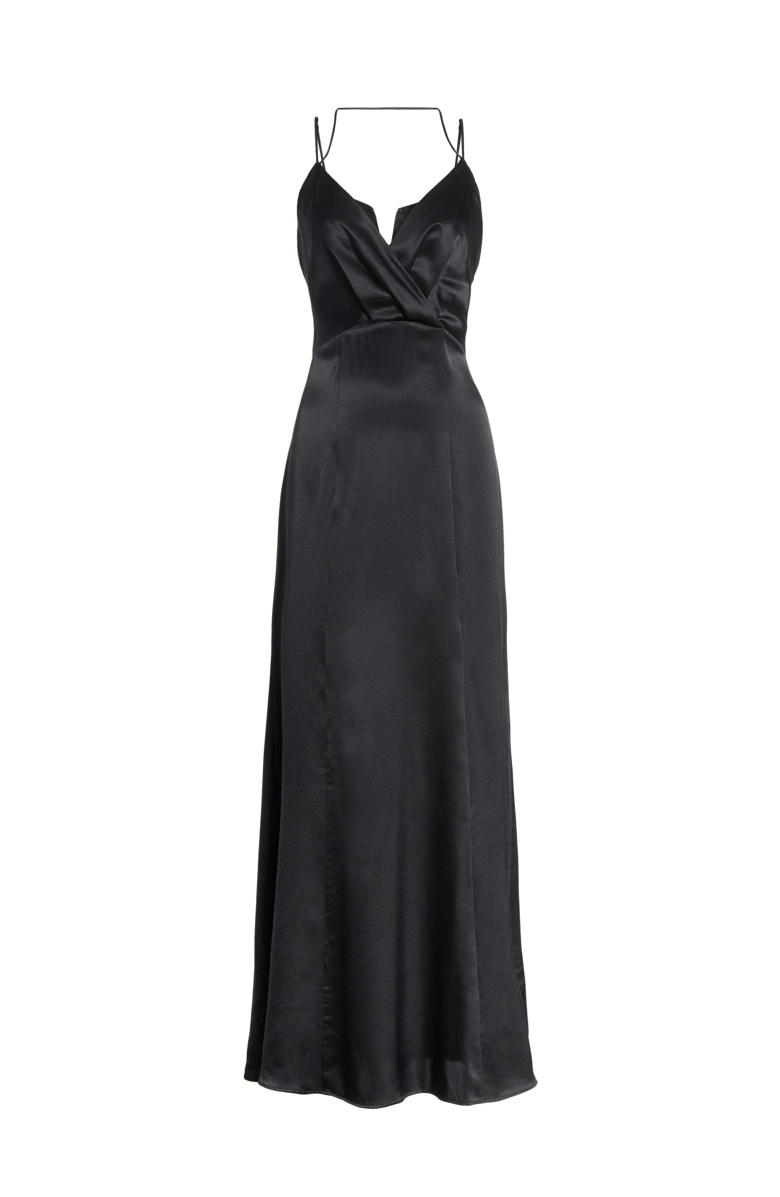 Octavia Strappy Silk Charmeuse Gown,                             Alternate thumbnail 6, color,                             Black
