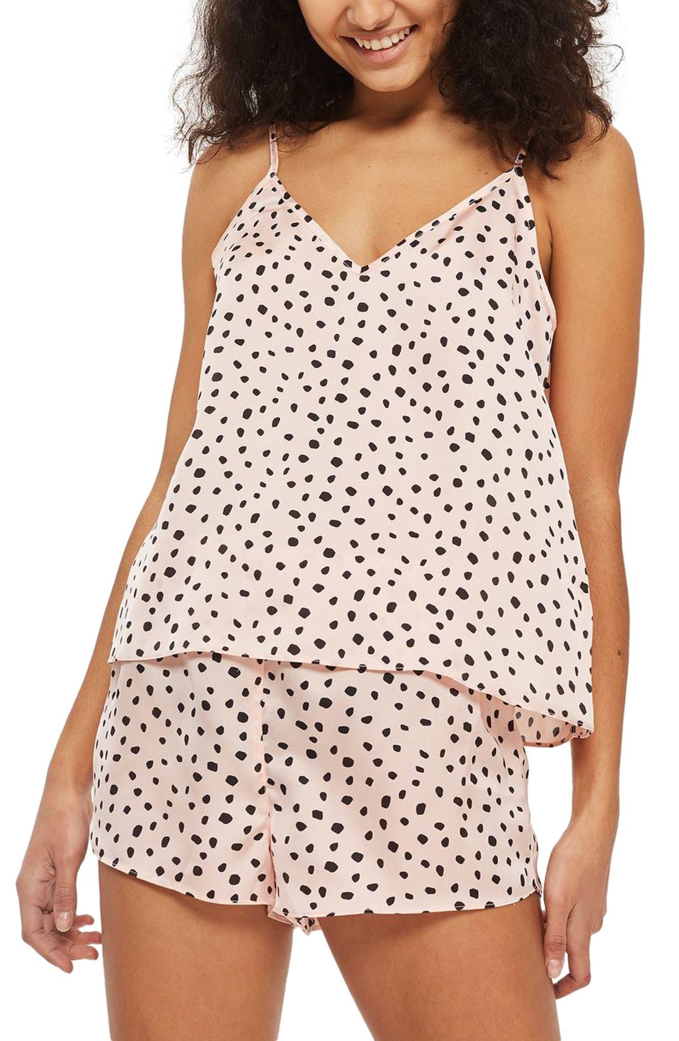 Irregular Spot Short Pajamas,                         Main,                         color, Pink Multi