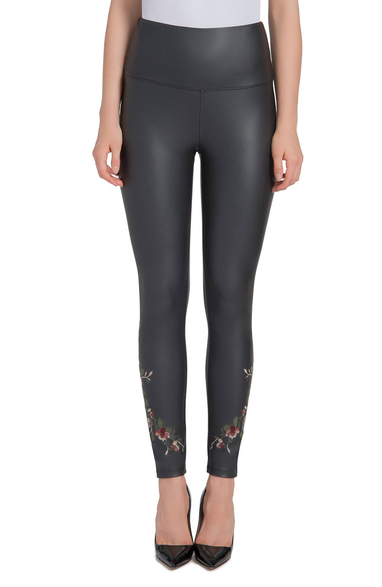 Lyssé Embroidered Faux Leather High Waist Leggings