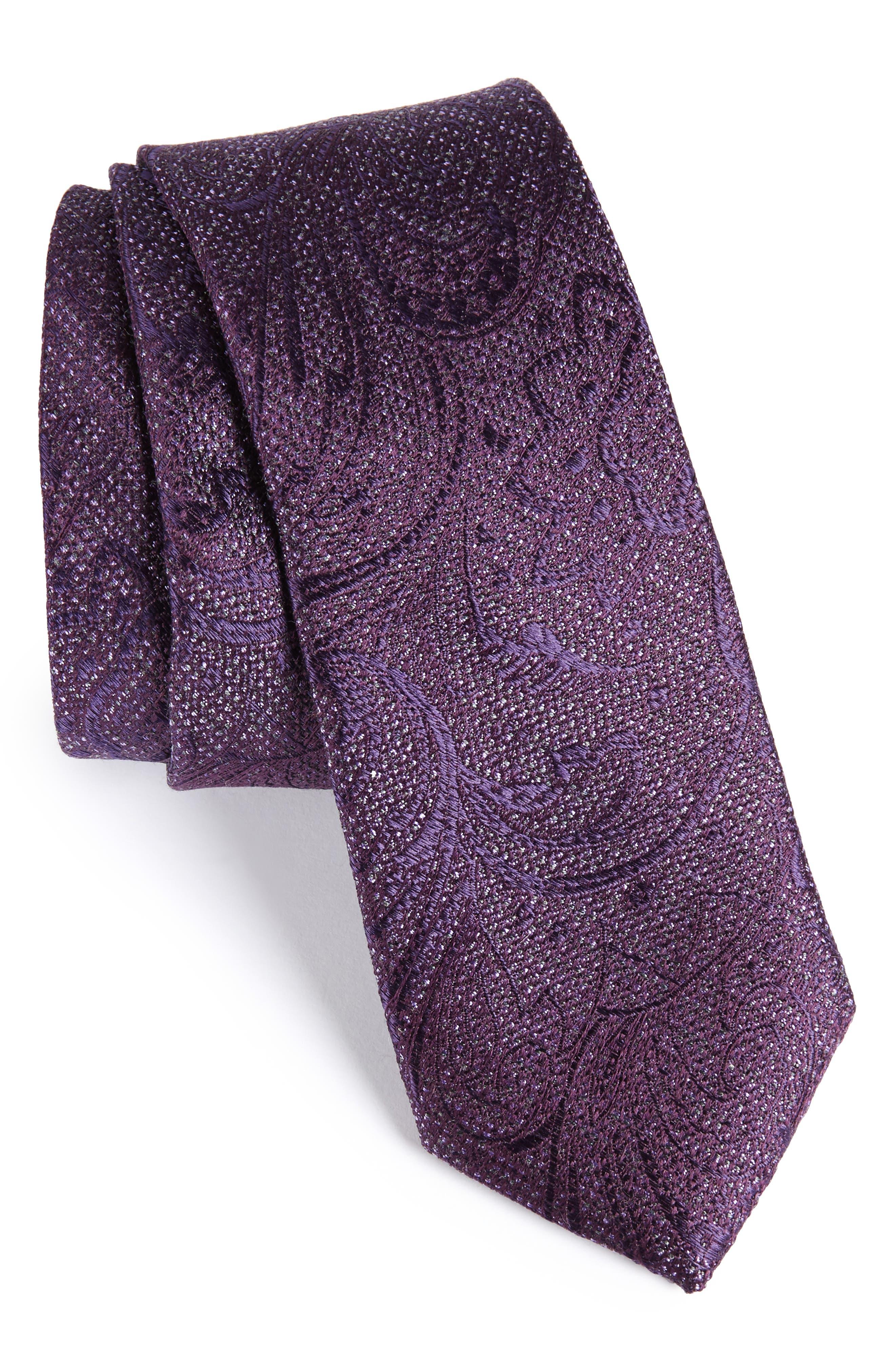 Hawkins Botanical Silk Tie,                             Main thumbnail 1, color,                             Purple