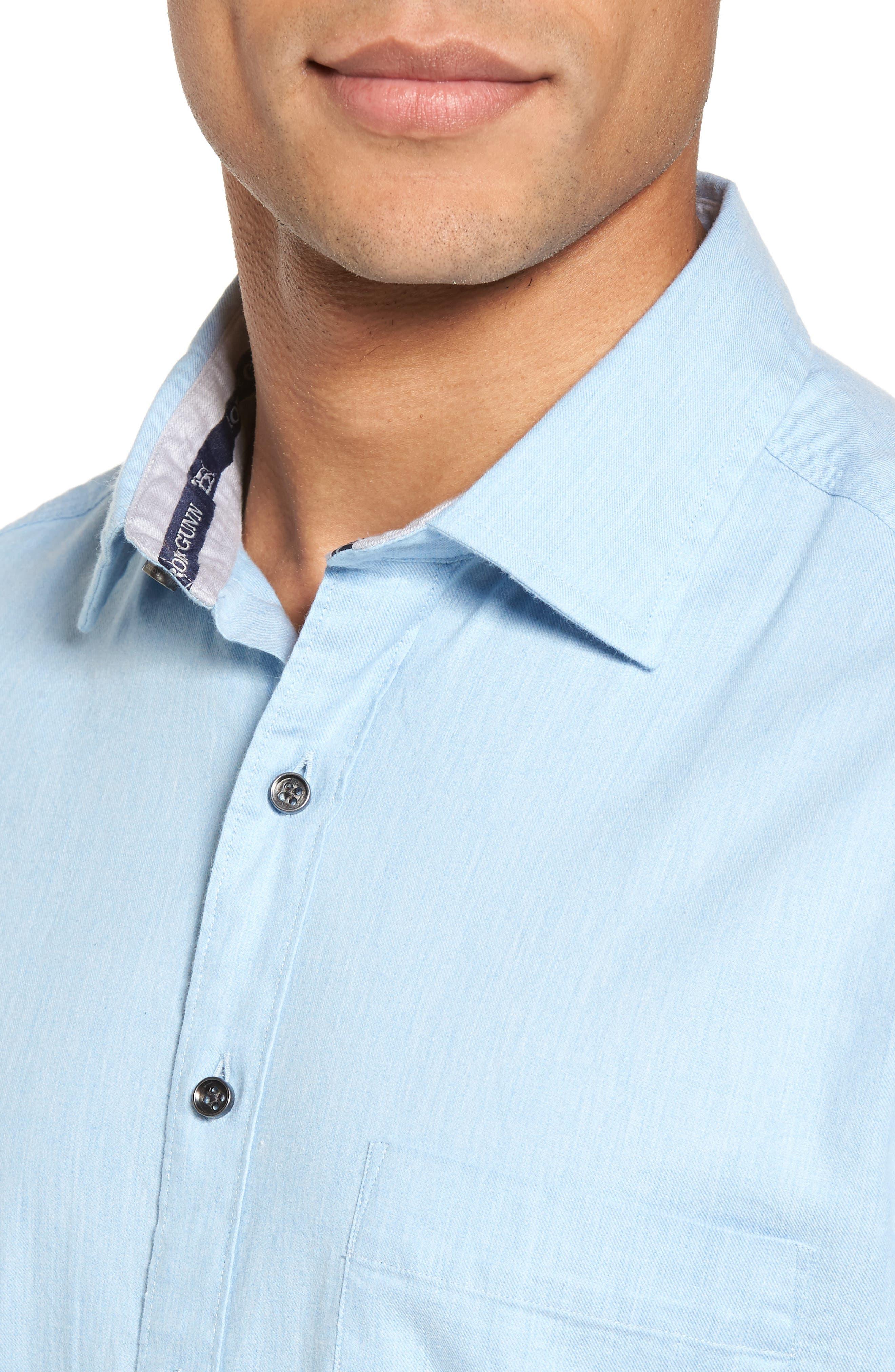 'Sinclair' Trim Fit Brushed Twill Sport Shirt,                             Alternate thumbnail 4, color,                             Stonewash