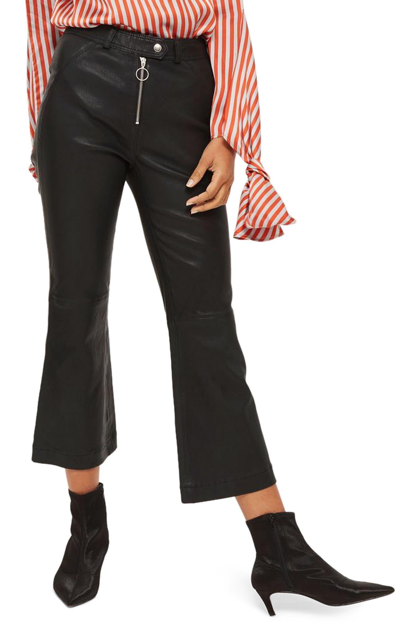 Premium Kick Flare Crop Leather Pants,                         Main,                         color, Black