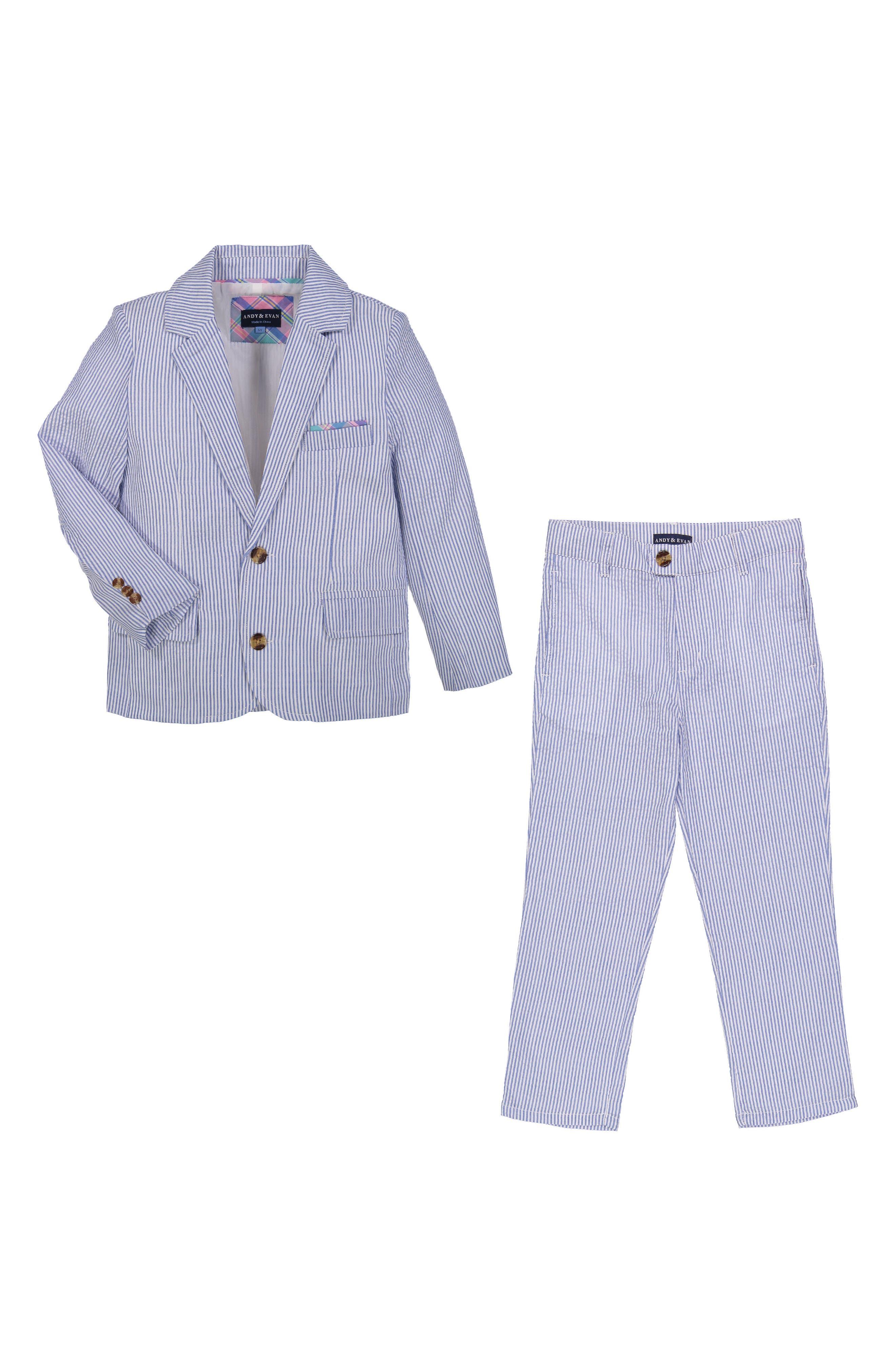 Seersucker Suit Set,                             Main thumbnail 1, color,                             Light Blue