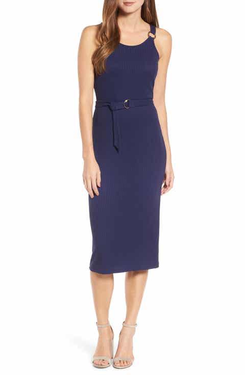 Michael Kors Ribbed Circle Trim Body Con Dress
