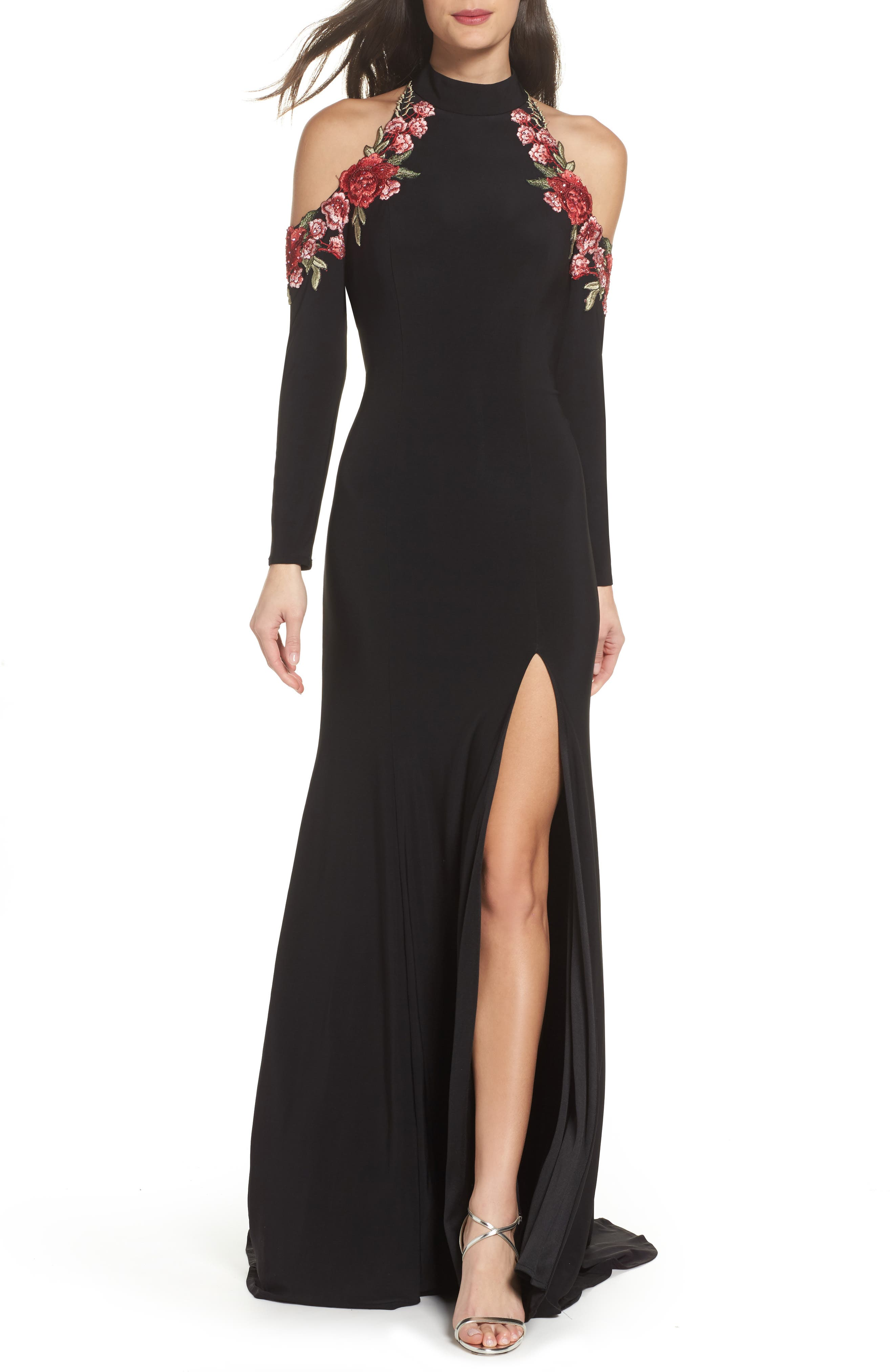 La Femme Cold Shoulder Jersey Gown