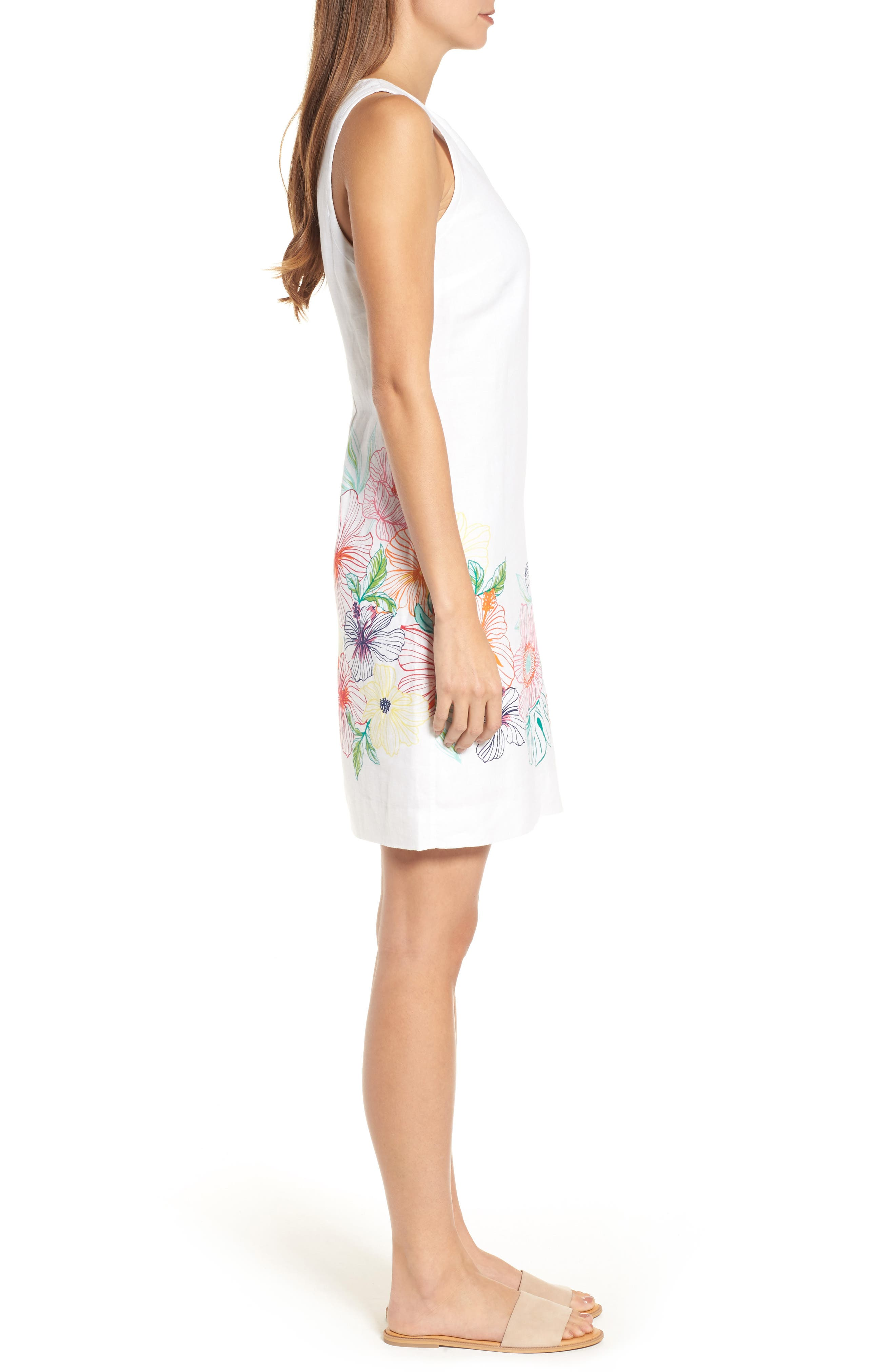 Hibiscus Sketch Shift Dress,                             Alternate thumbnail 3, color,                             White