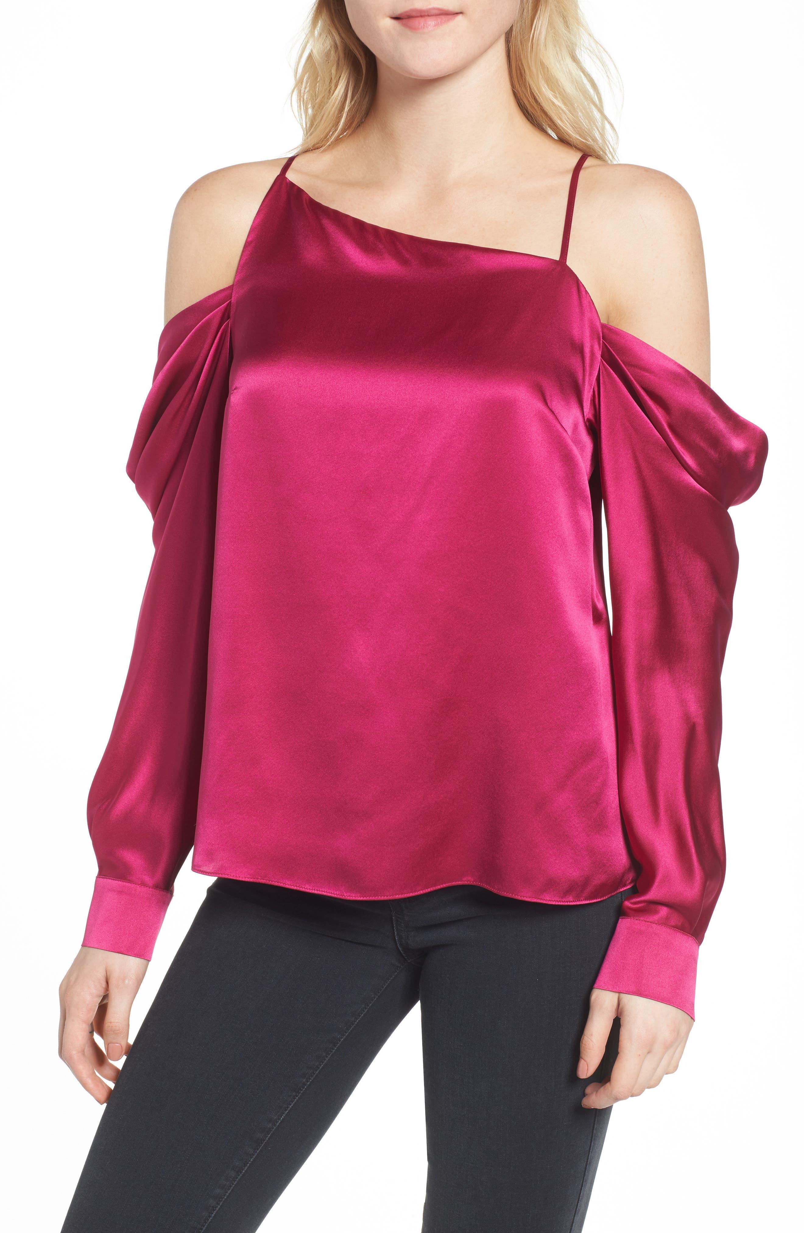Amelia Asymmetrical Silk Blouse,                             Main thumbnail 1, color,                             Beetroot