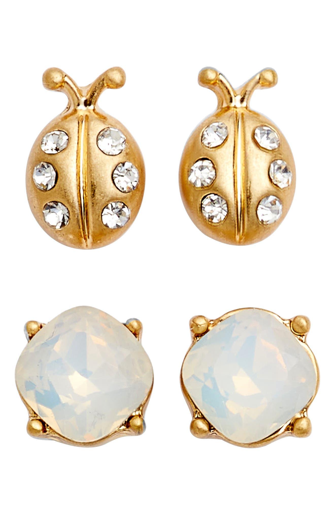 Set of 2 Jeweled Ladybug Earrings,                         Main,                         color, White Opal- Gold