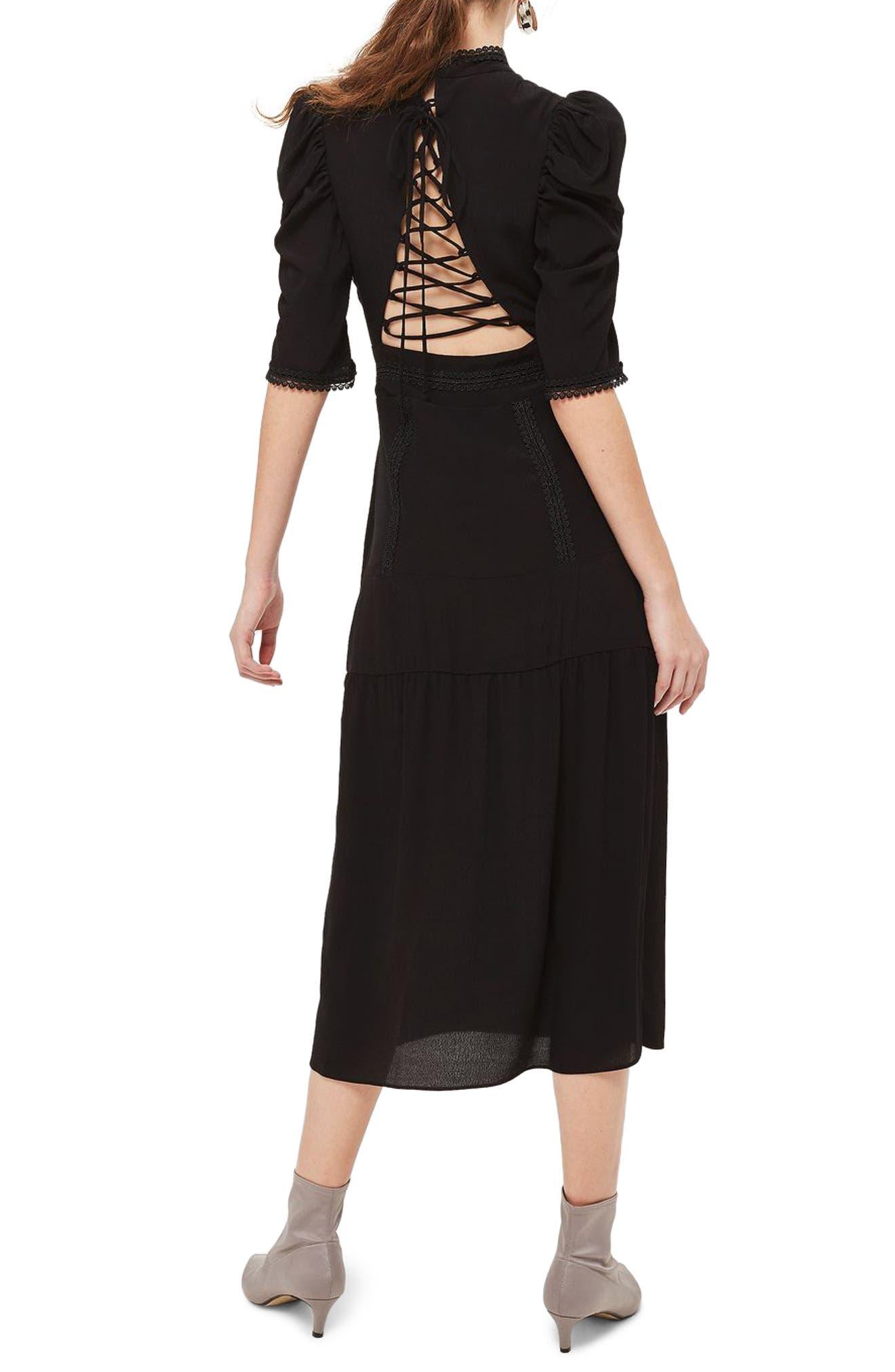 Corset Back Tiered Midi Dress,                             Alternate thumbnail 2, color,                             Black