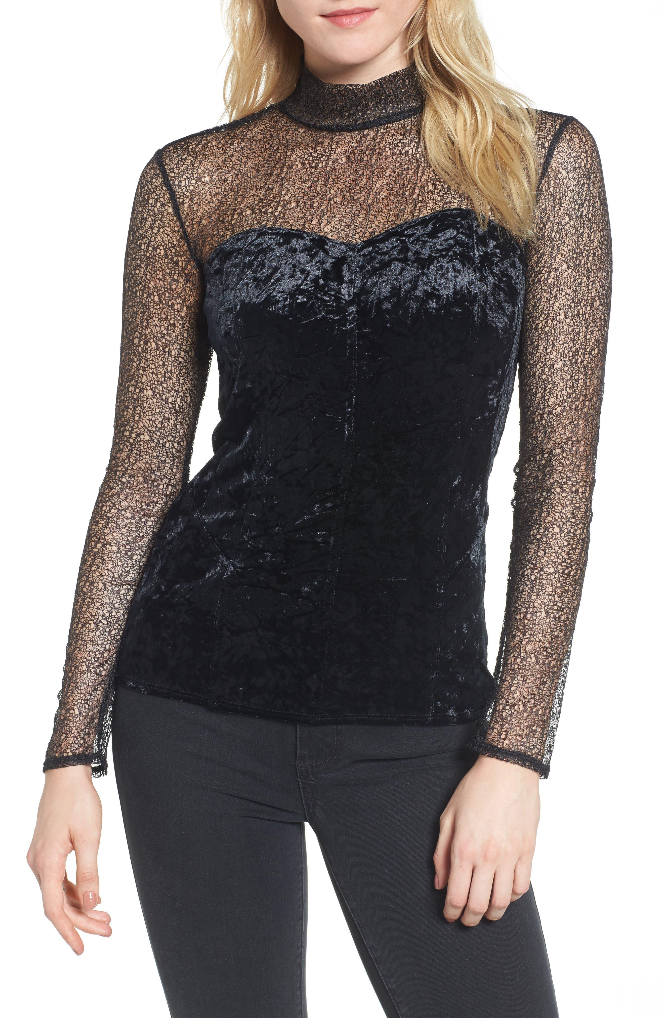 Lace & Velvet Top,                         Main,                         color, Black