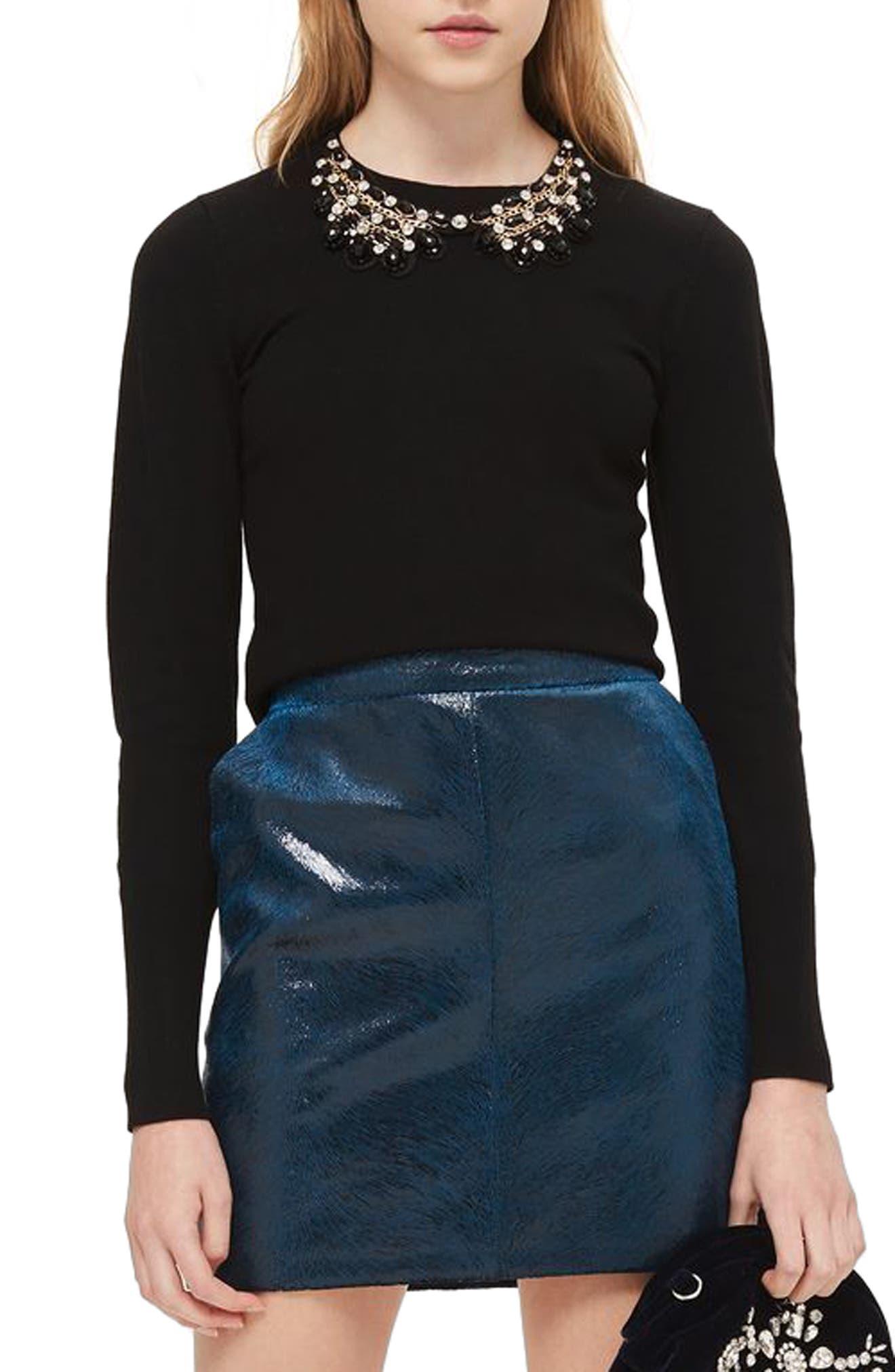 Topshop Embellished Collar Sweater