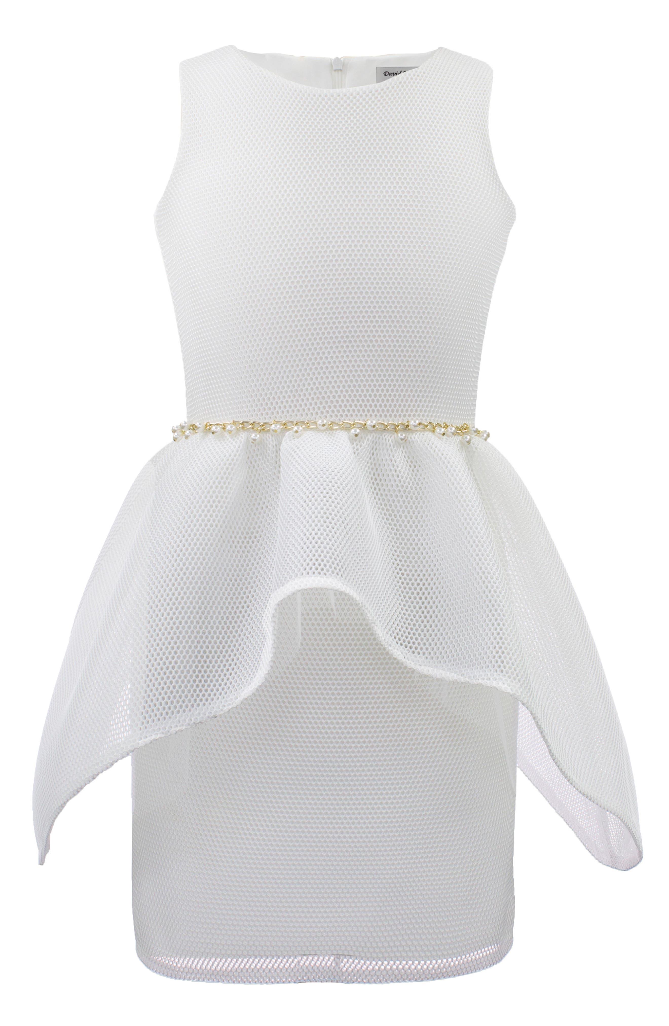 Embellished Mesh Dress,                         Main,                         color, Ivory