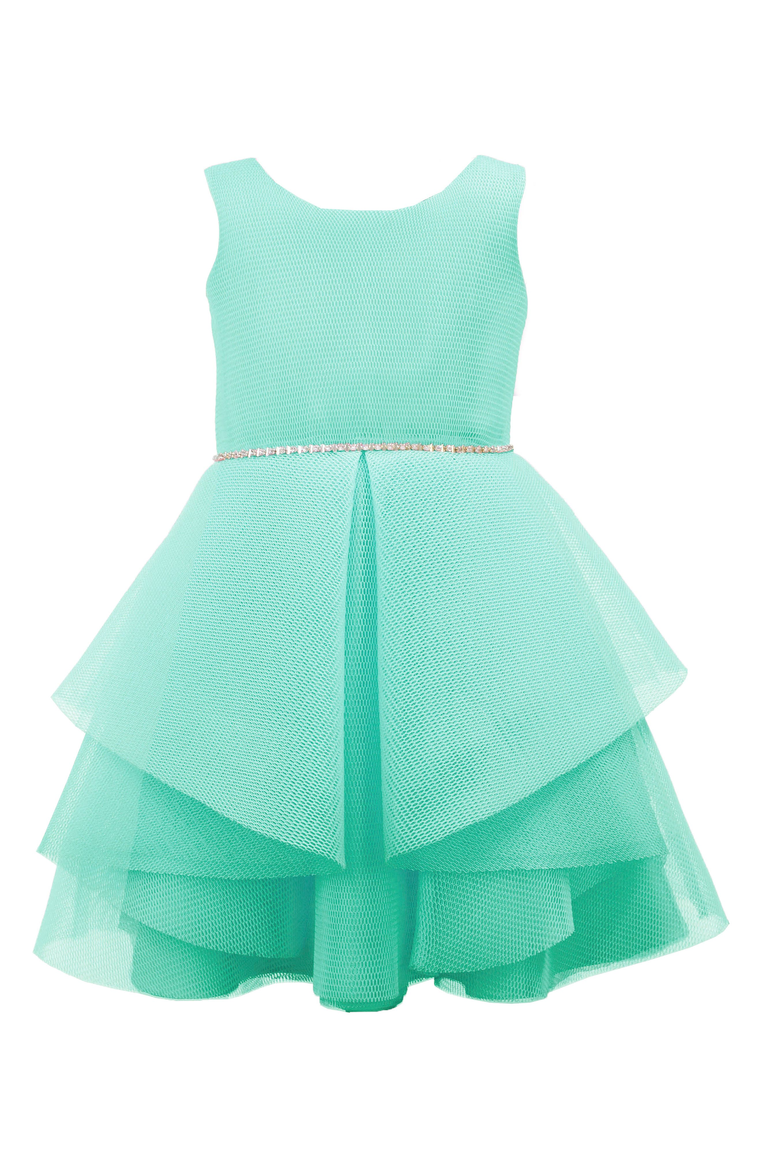 Techno Mesh Fit & Flare Dress,                             Main thumbnail 1, color,                             Turquoise