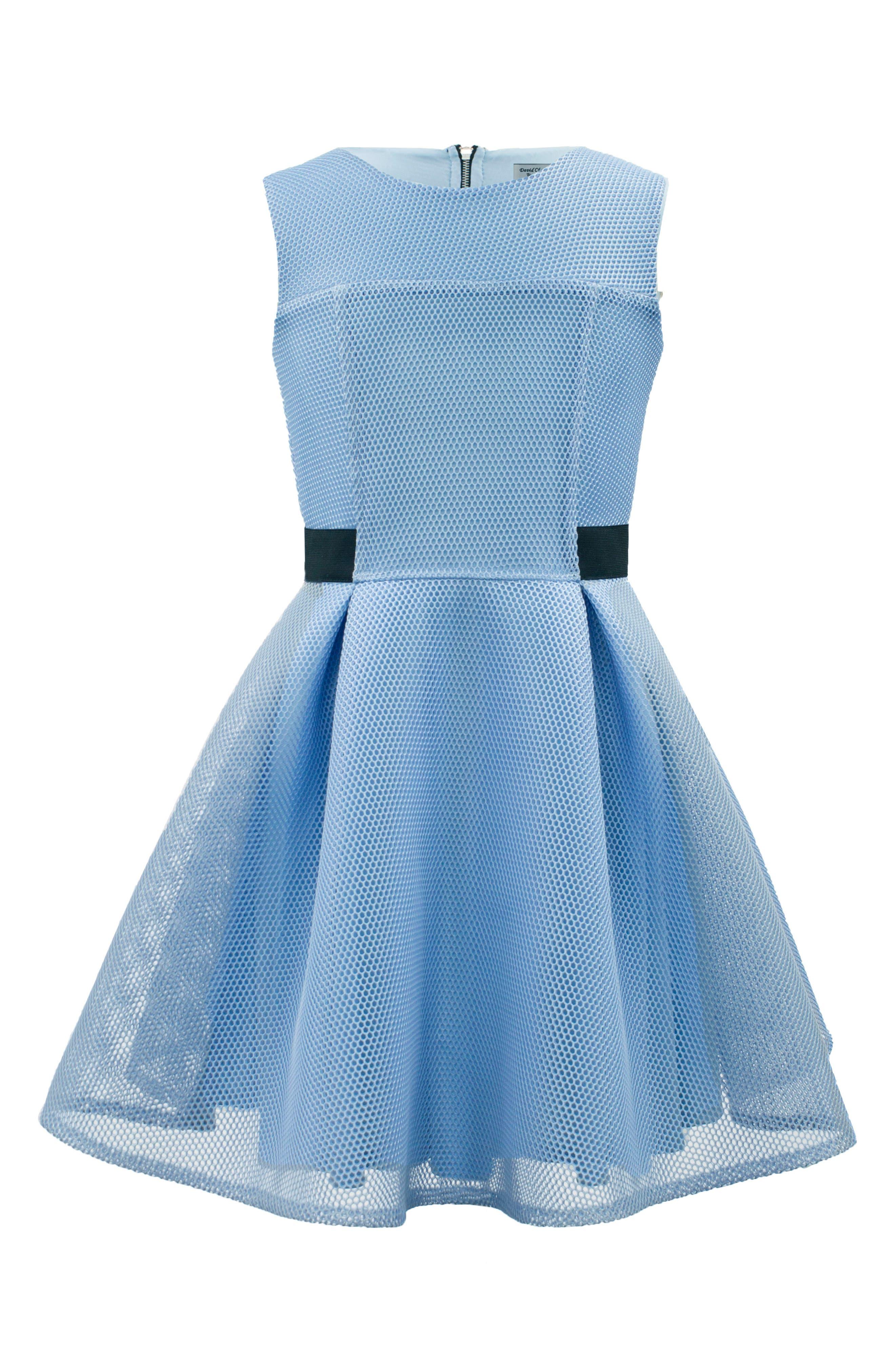 Techno Mesh Fit & Flare Dress,                         Main,                         color, Blue