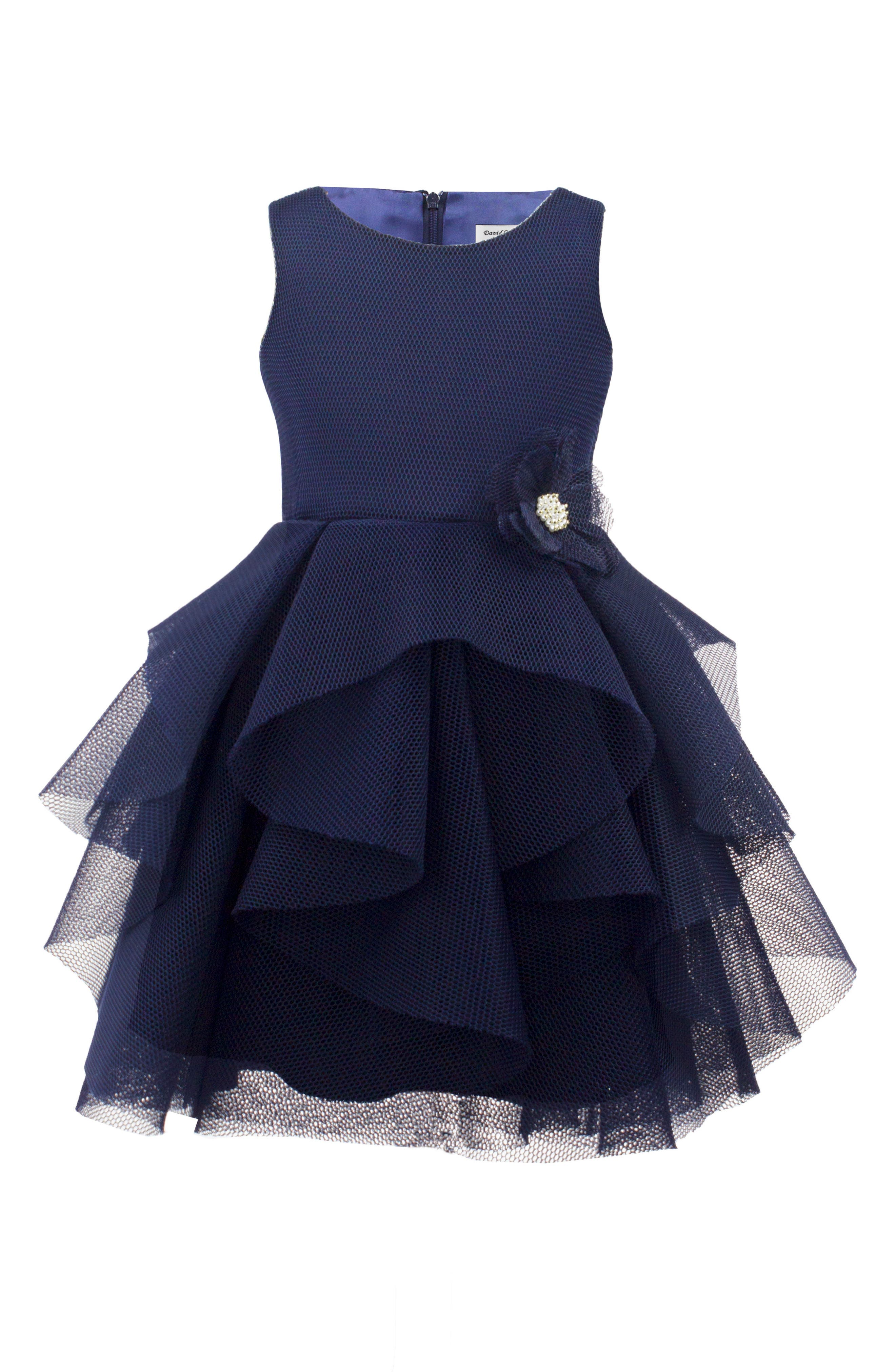Techno Mesh Tiered Dress,                         Main,                         color, Navy