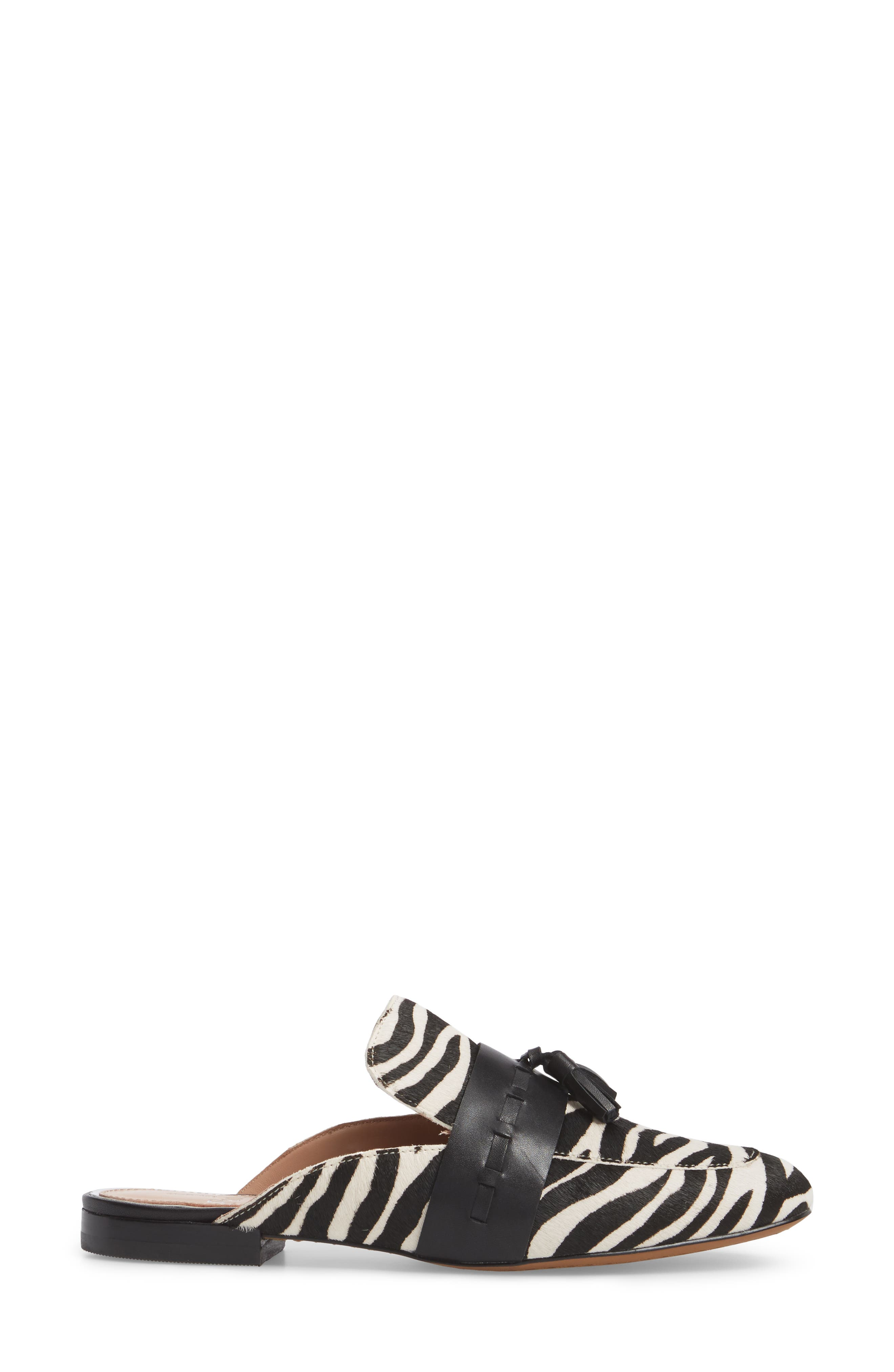 Abbott II Tassel Mule,                             Alternate thumbnail 3, color,                             White/ Black Print Calf Hair