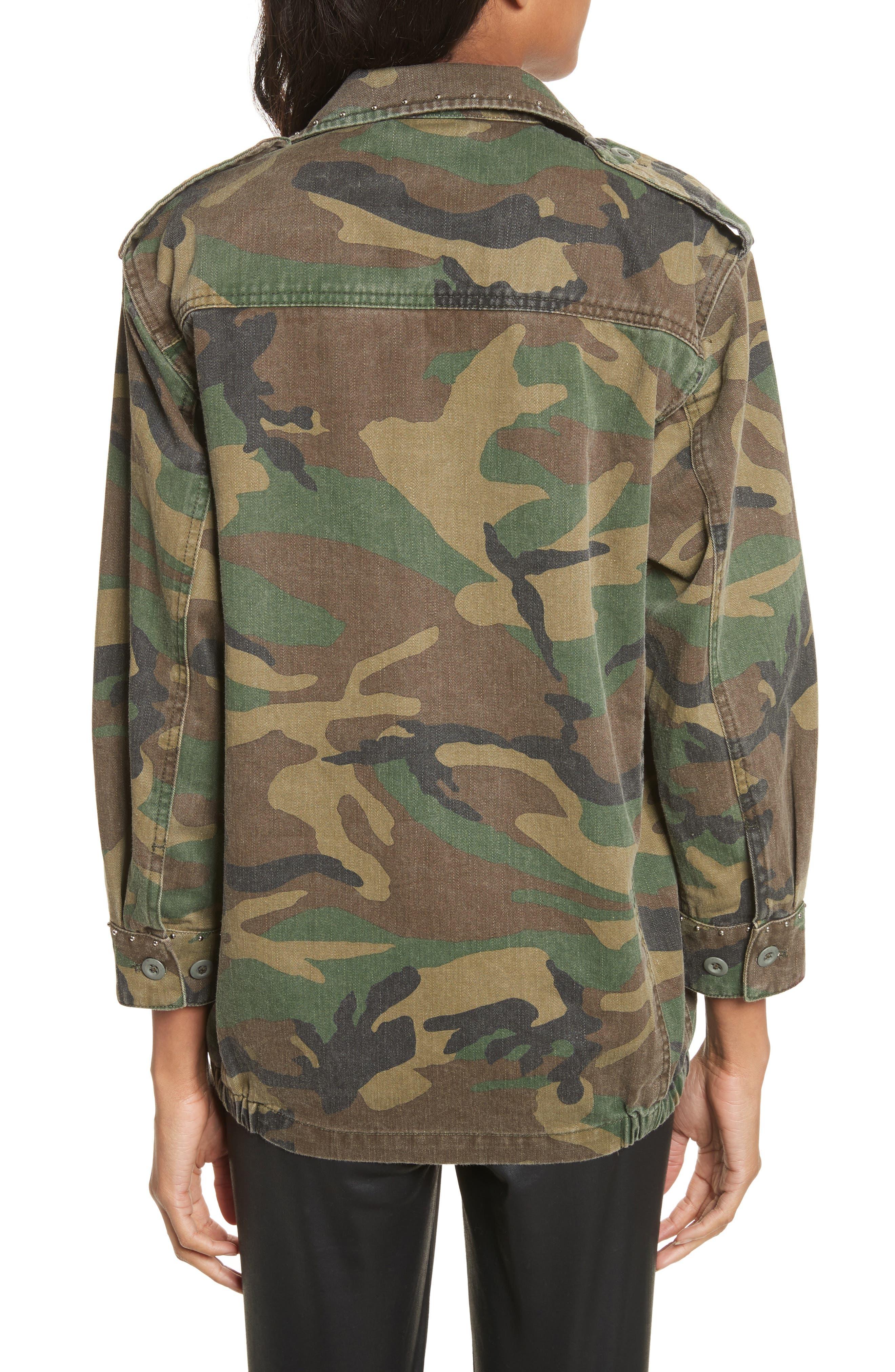 Studded Camouflage Jacket,                             Alternate thumbnail 2, color,                             Khaki