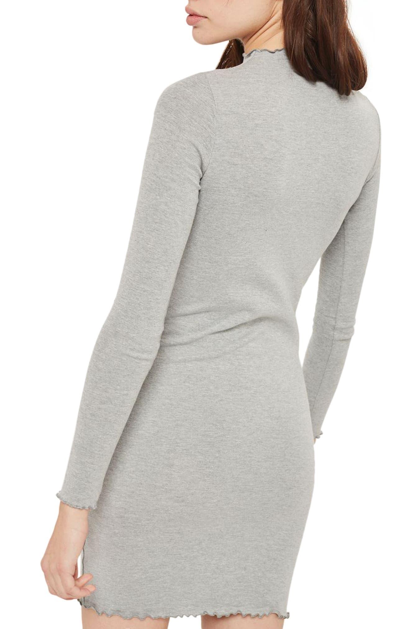Lettuce Edge Body-Con Dress,                             Alternate thumbnail 2, color,                             Grey