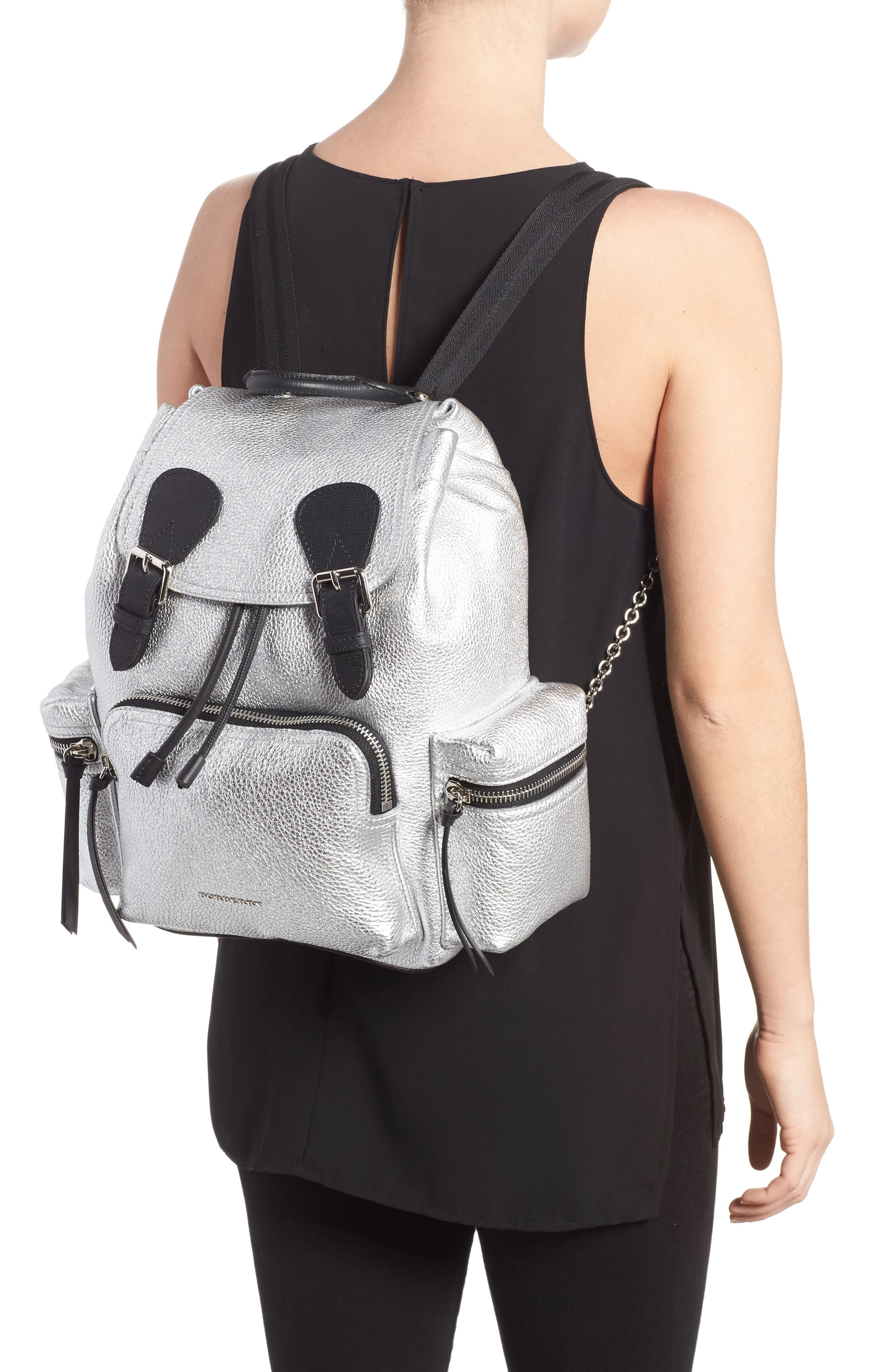 Medium Rucksack Metallic Leather Backpack,                             Alternate thumbnail 2, color,                             Silver
