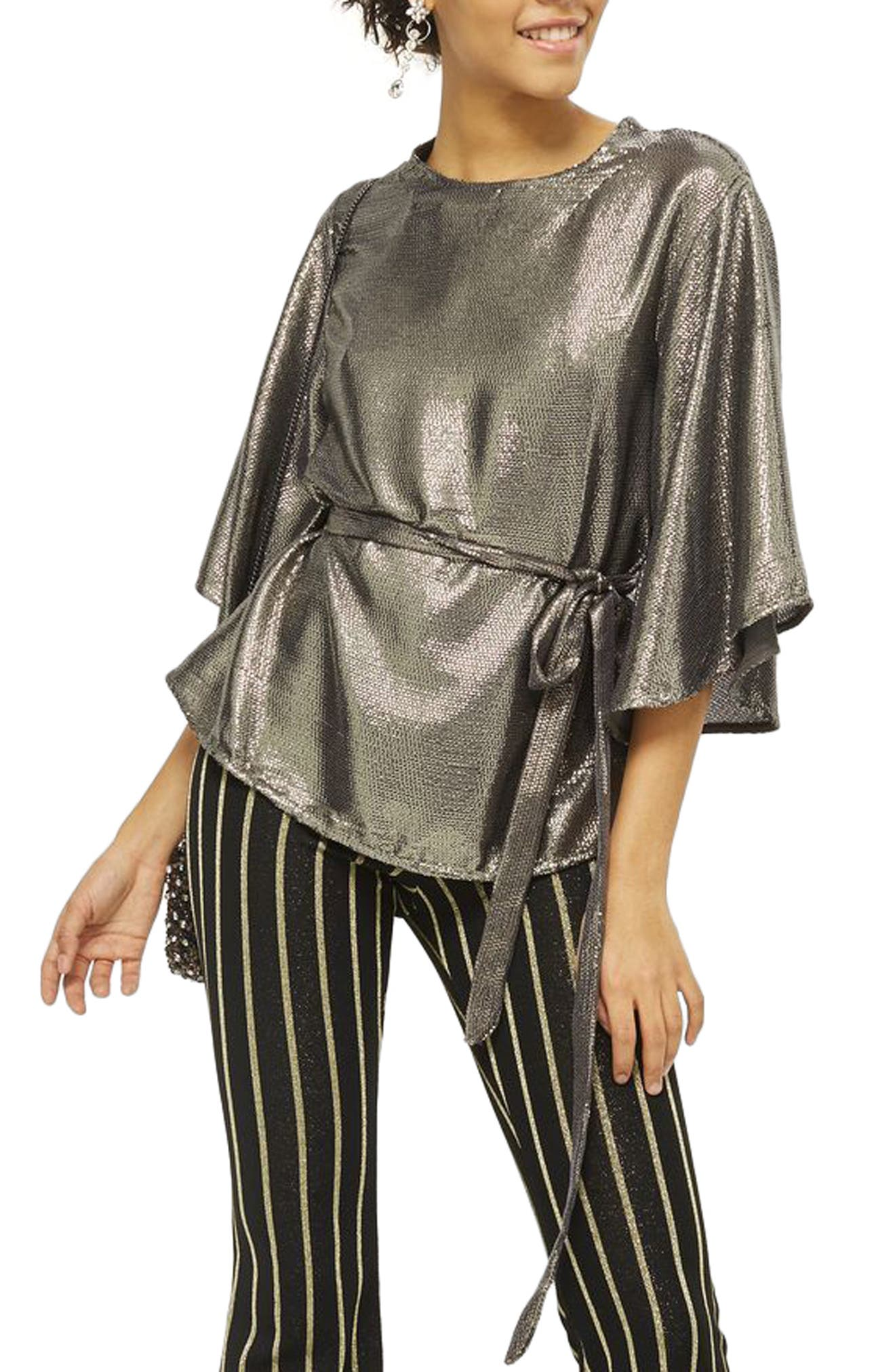Angel Sleeve Sequin Blouse,                             Alternate thumbnail 3, color,                             Silver