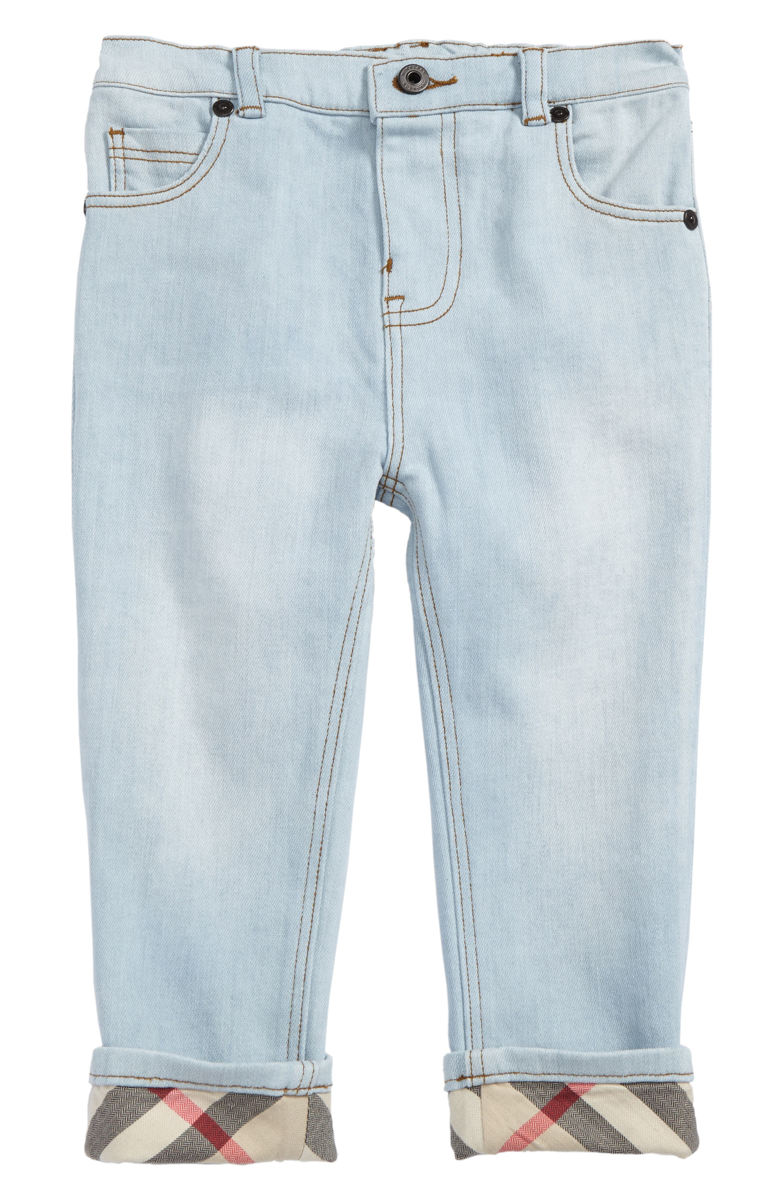 Main Image - Burberry Check Cuff Relaxed Jeans (Toddler Boys)