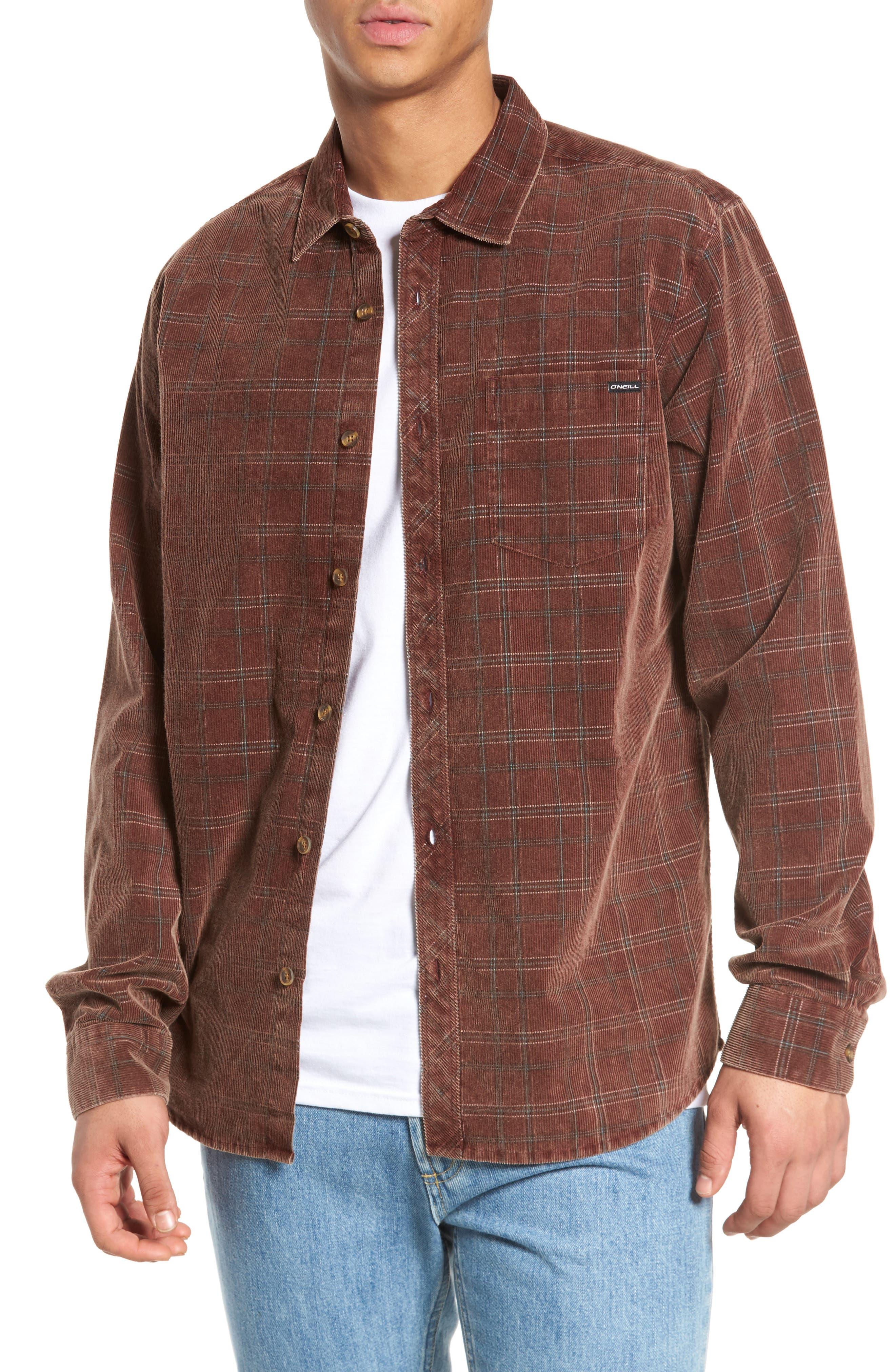 Bradley Corduroy Shirt,                         Main,                         color, Burgundy