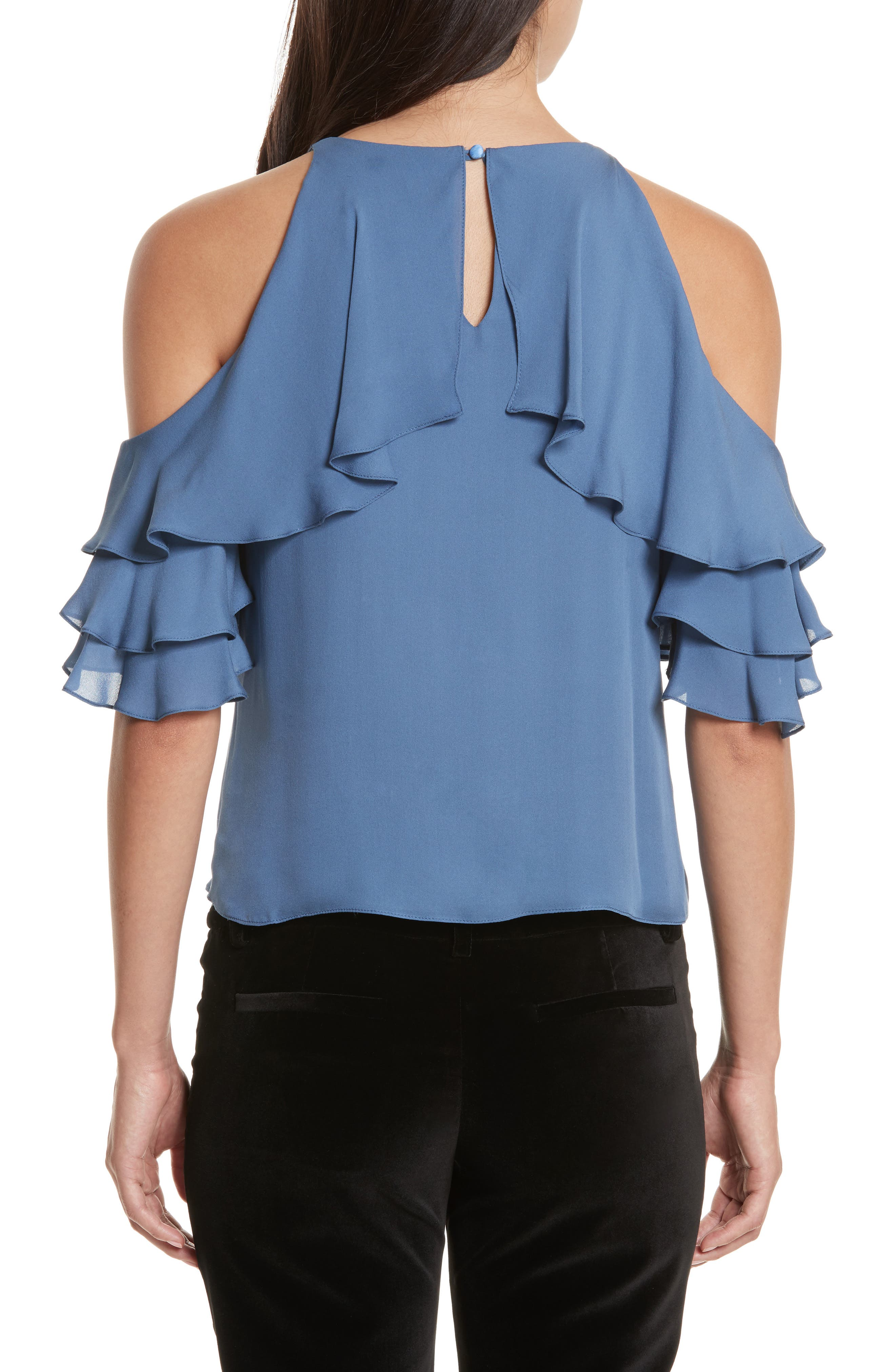 Alternate Image 2  - Alice + Olivia Idalla Cold Shoulder Ruffle Silk Blouse