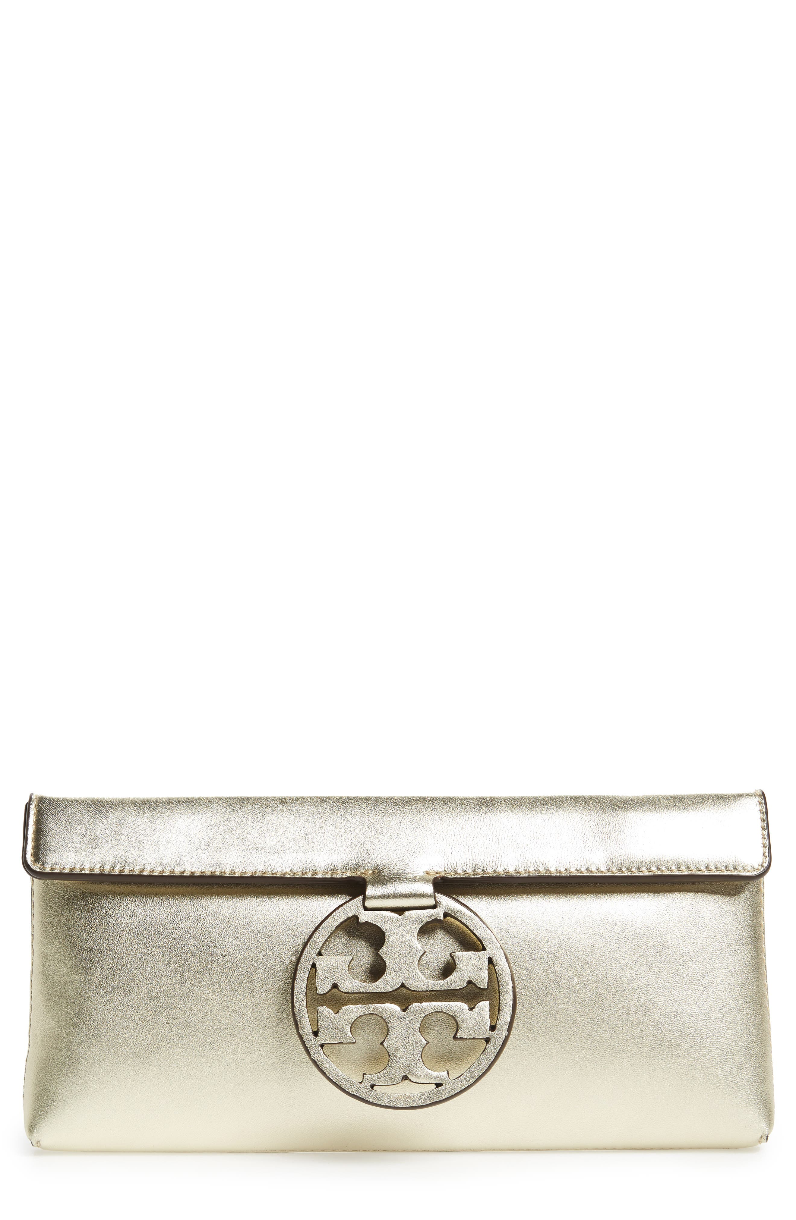 Miller Leather Clutch,                             Main thumbnail 1, color,                             Gold