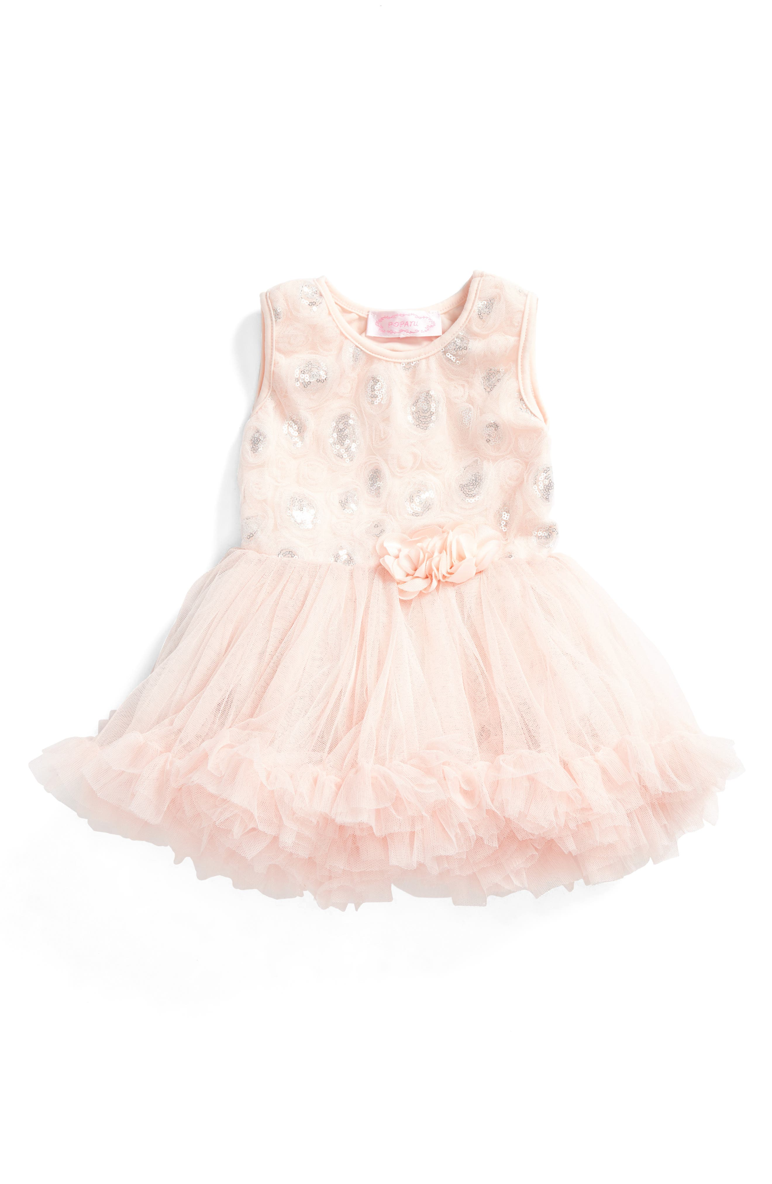 Rosette Sequin Dress,                             Main thumbnail 1, color,                             Dusty Pink