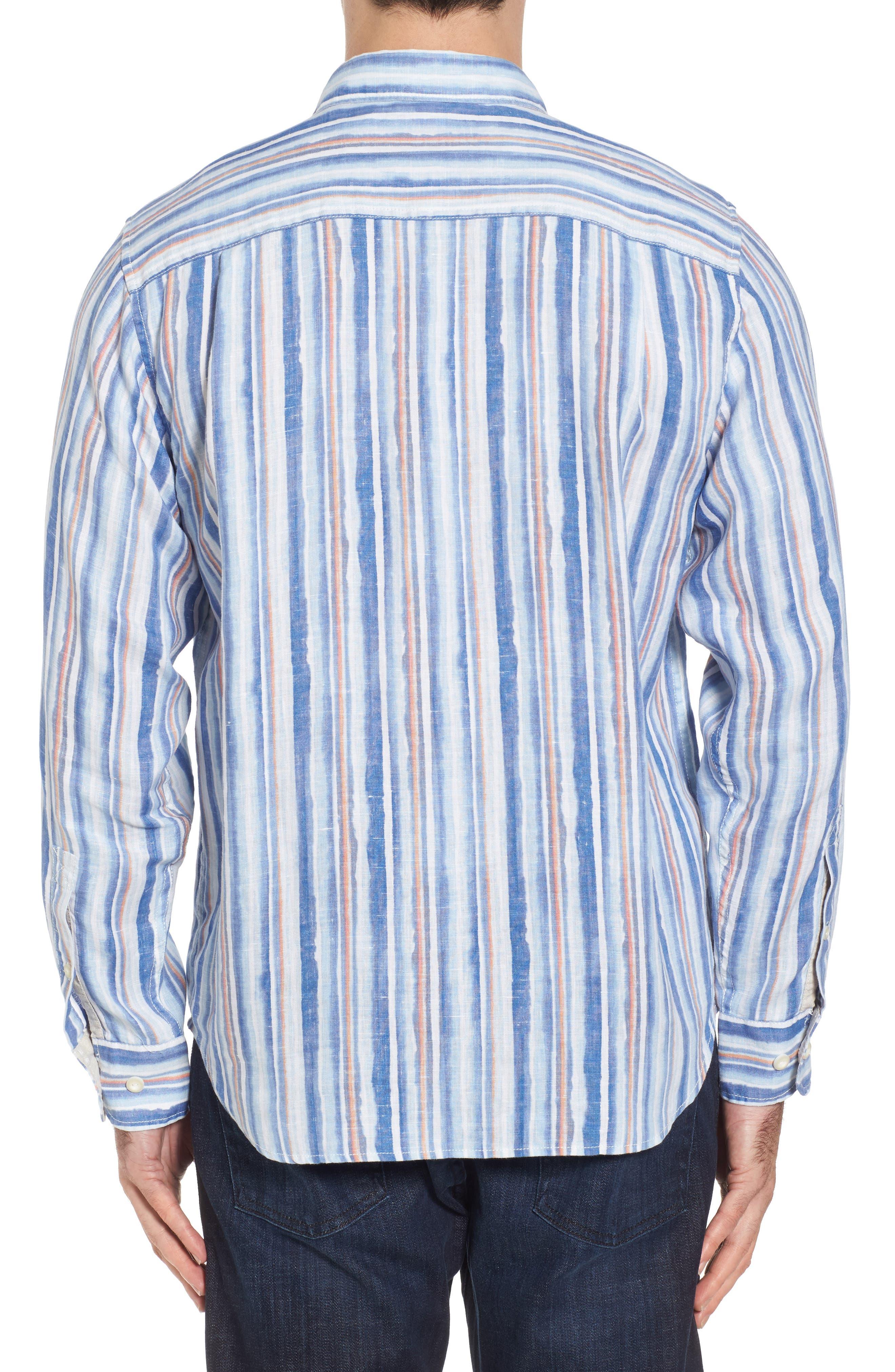 Watercrest Stripe Linen Sport Shirt,                             Alternate thumbnail 2, color,                             Cobalt Sea