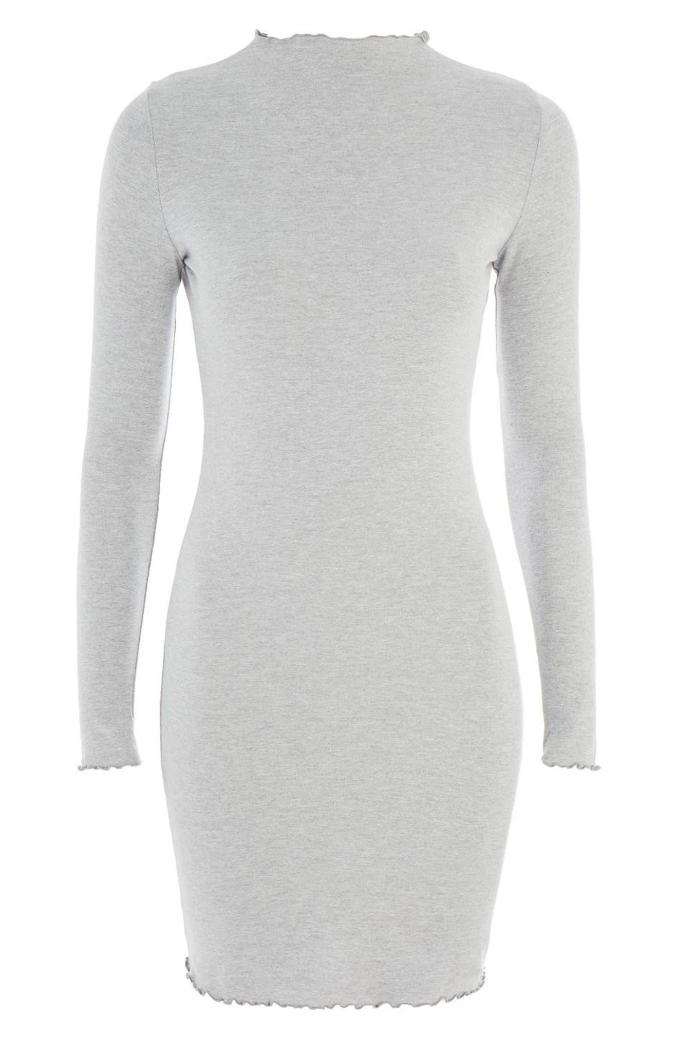 Lettuce Edge Body-Con Dress,                             Alternate thumbnail 3, color,                             Grey