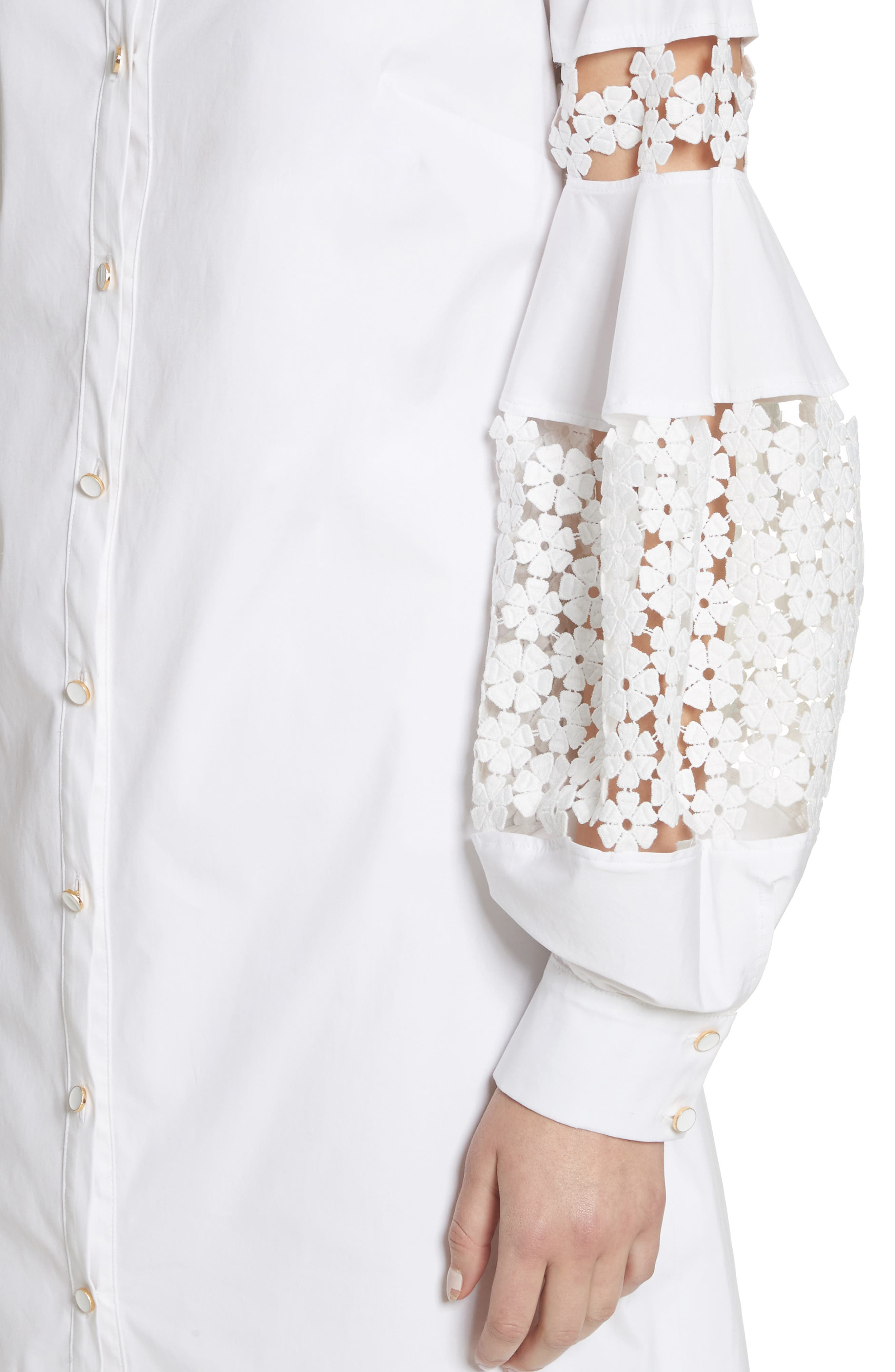 Lace Inset Puff Sleeve Shirtdress,                             Alternate thumbnail 4, color,                             White