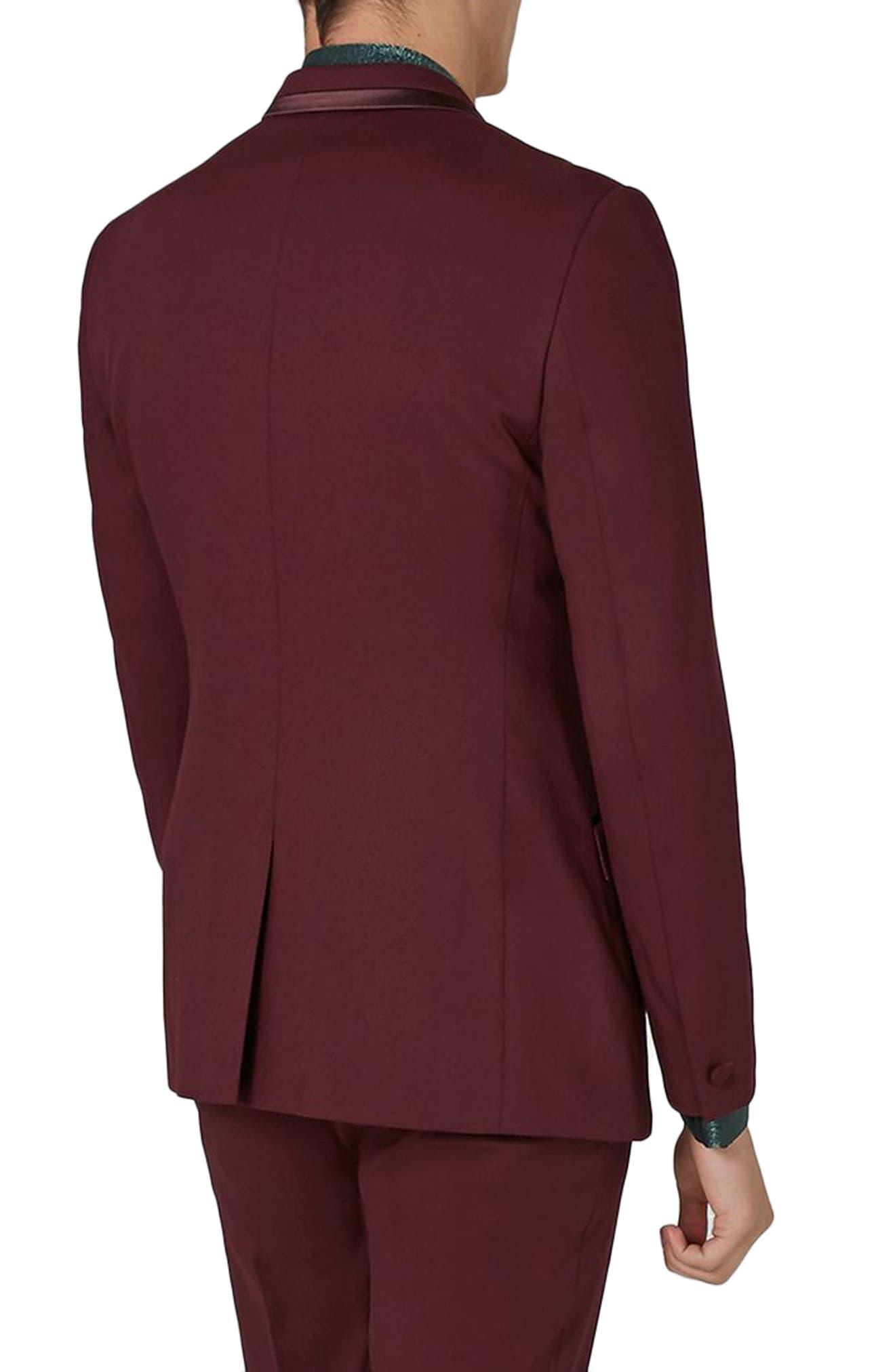 Skinny Fit Burgundy Tuxedo Jacket,                             Alternate thumbnail 3, color,                             Burgundy