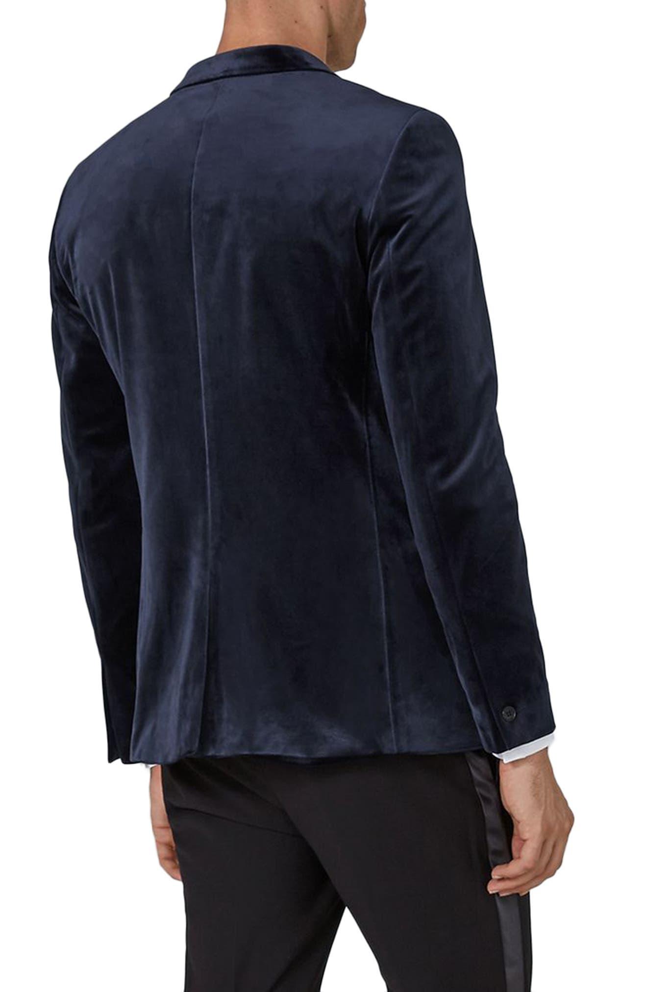 Skinny Fit Velvet Tuxedo Jacket,                             Alternate thumbnail 2, color,                             Dark Blue