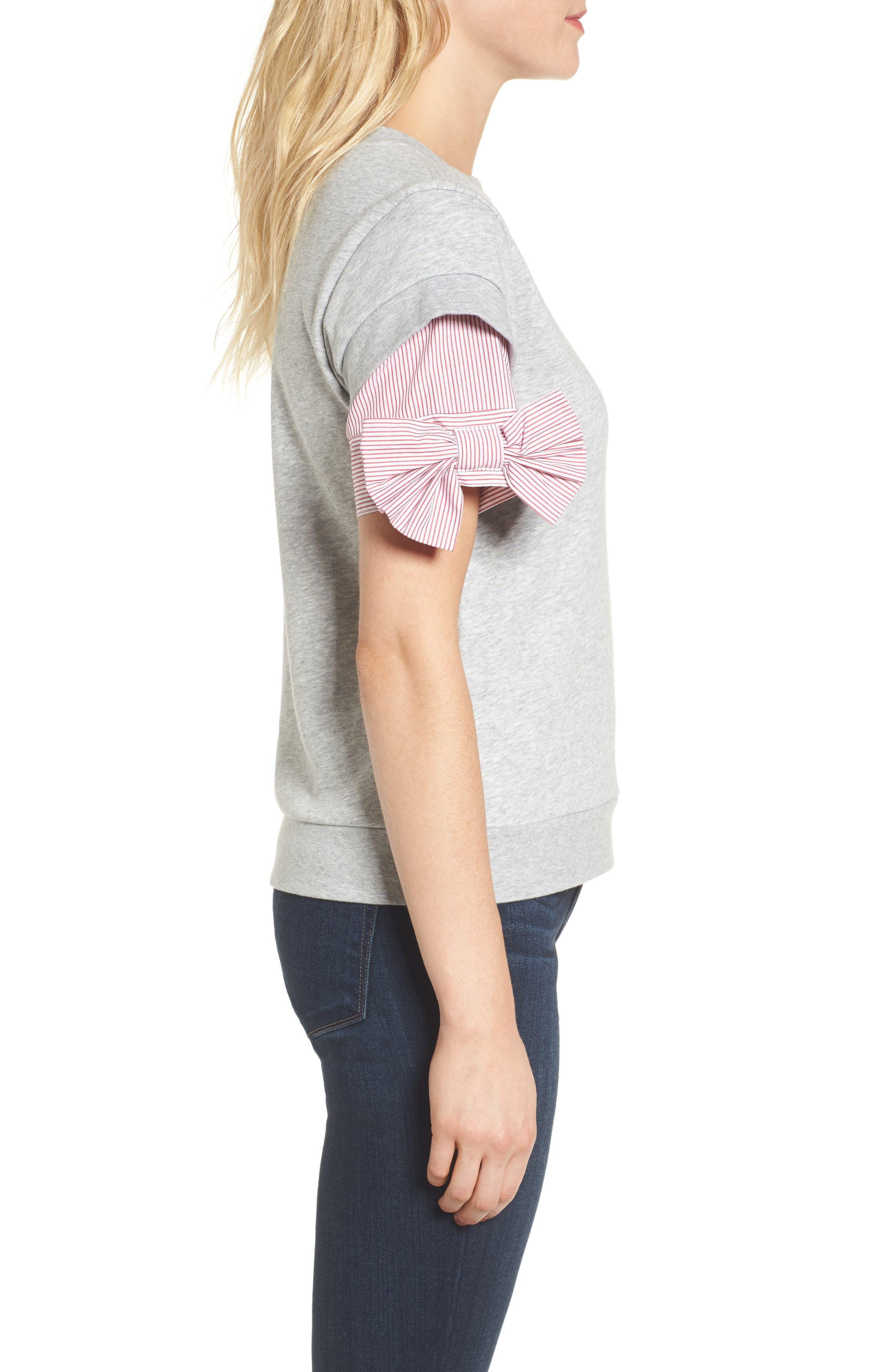 Bow Sleeve Sweatshirt,                             Alternate thumbnail 3, color,                             Grey Heather
