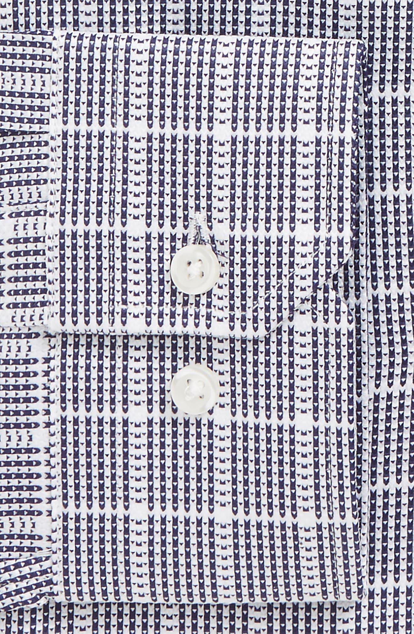 Trim Fit Check Dress Shirt,                             Alternate thumbnail 2, color,                             Navy Dusk