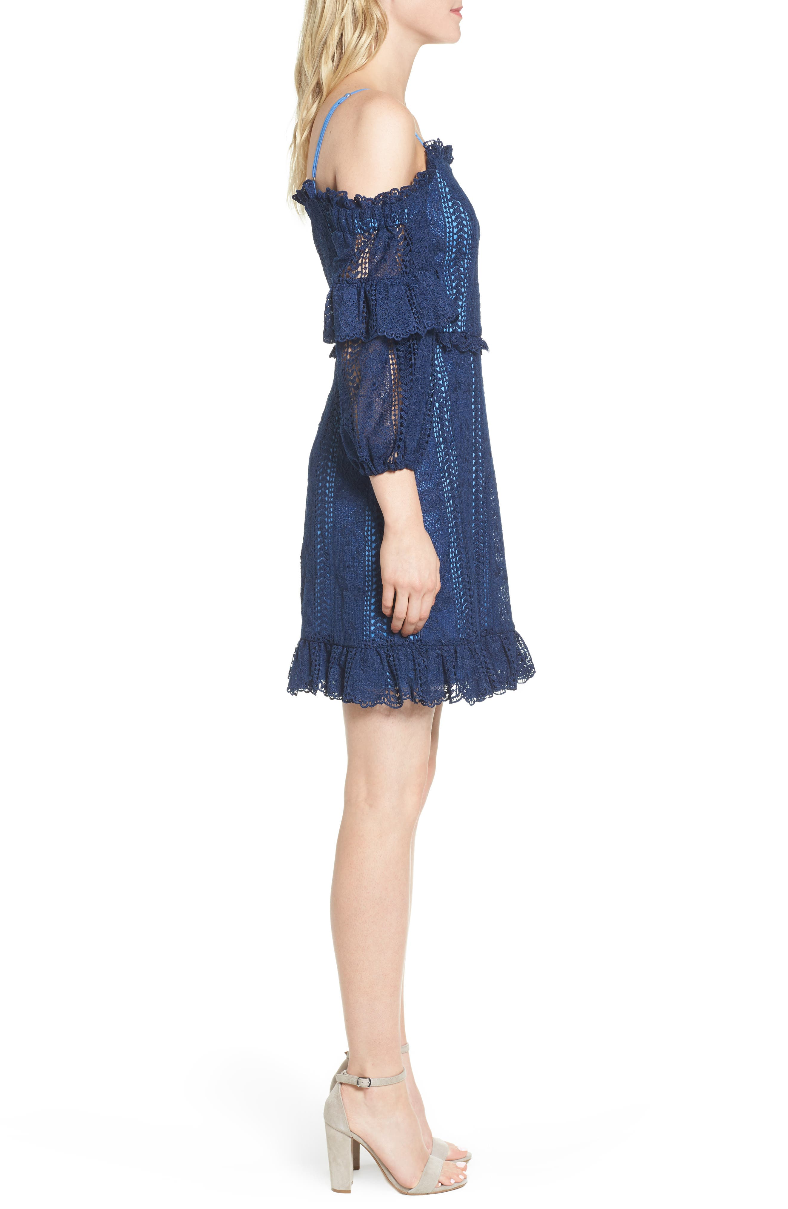Irma Lace Off the Shoulder Dress,                             Alternate thumbnail 3, color,                             Night