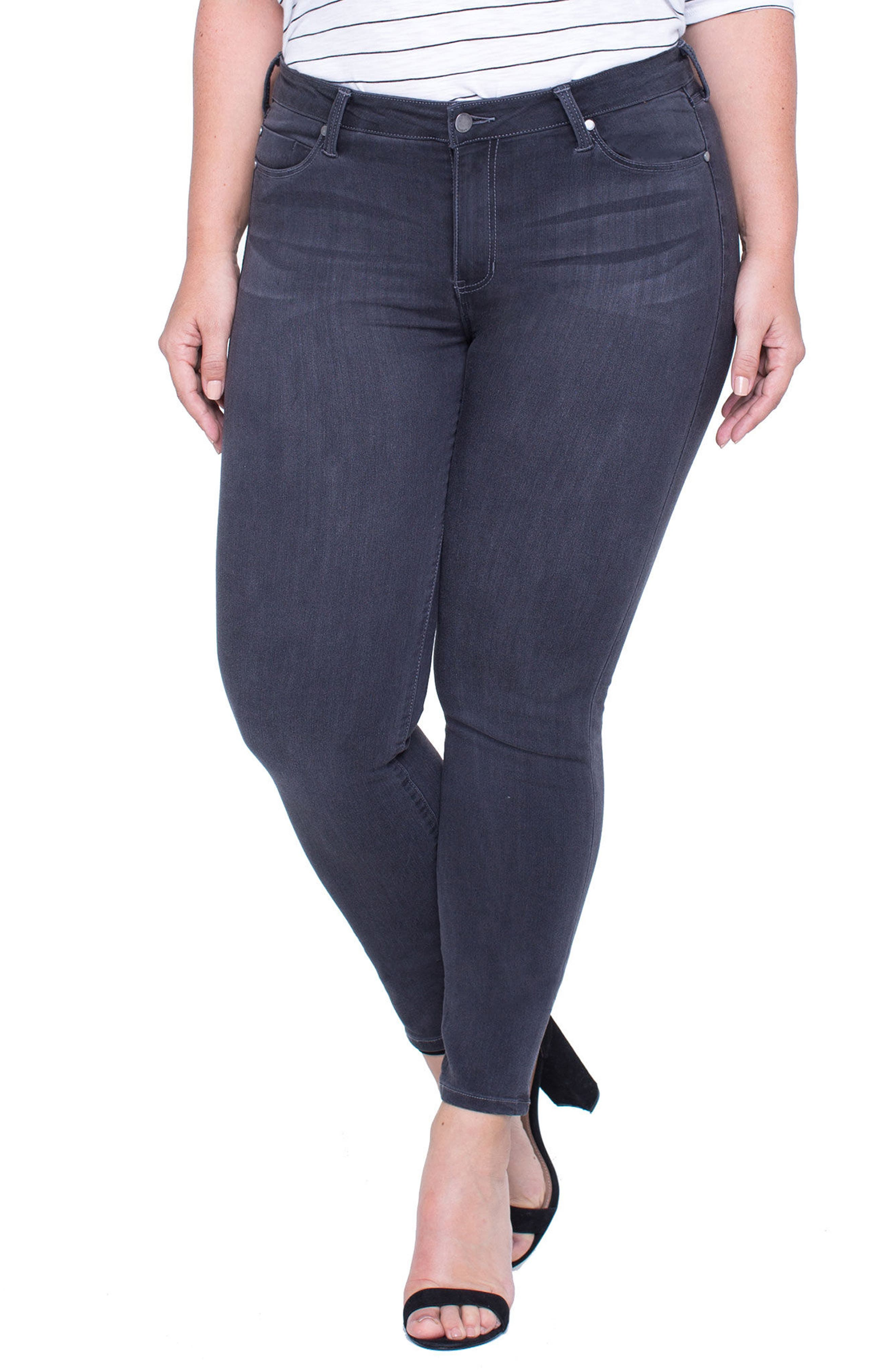 Abby Stretch Skinny Jeans,                             Main thumbnail 1, color,                             Meteorite