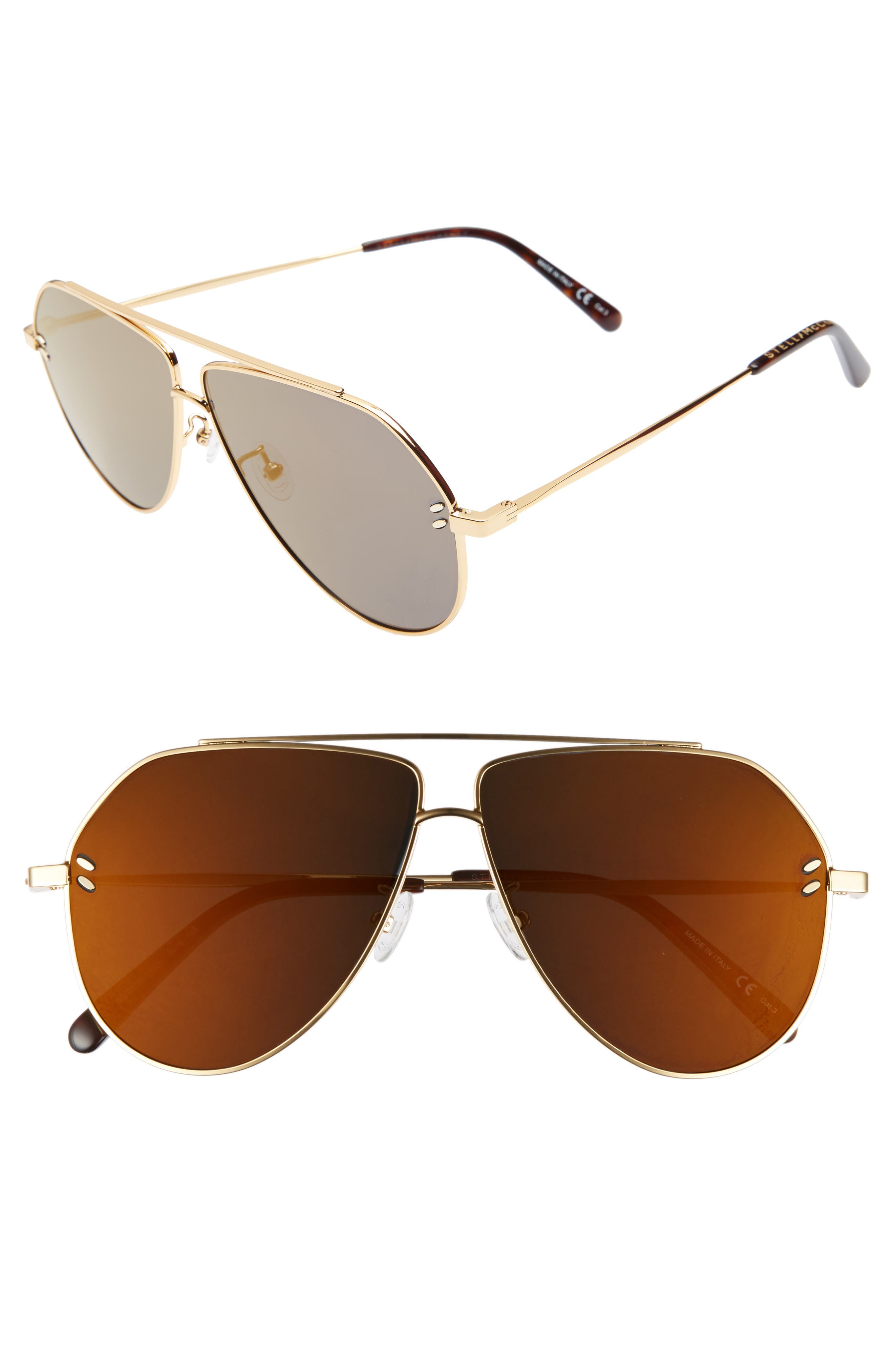 60MM AVIATOR SUNGLASSES - GOLD