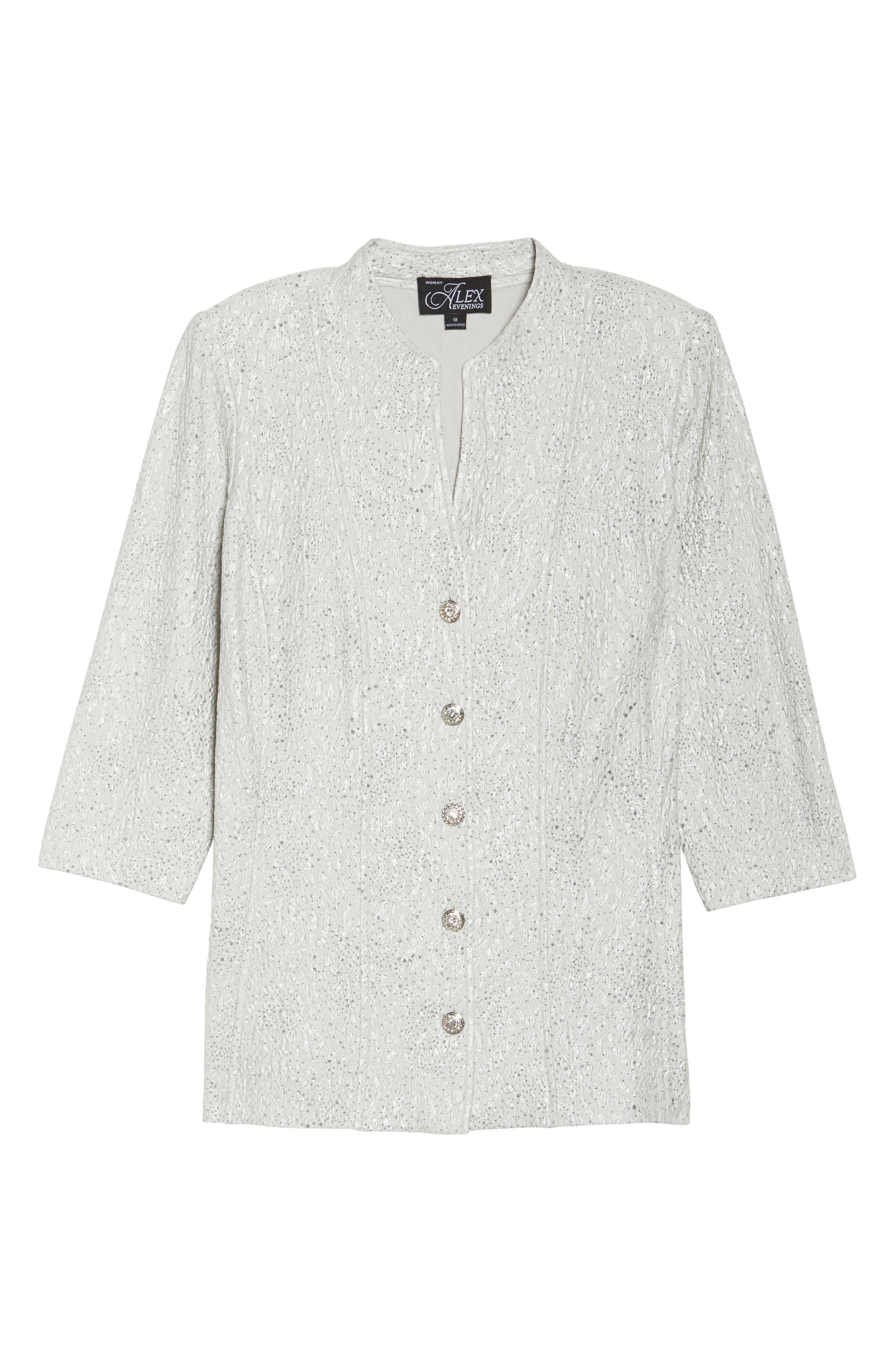 Alternate Image 6  - Alex Evenings Mandarin Collar Shimmer Jacket (Plus Size)