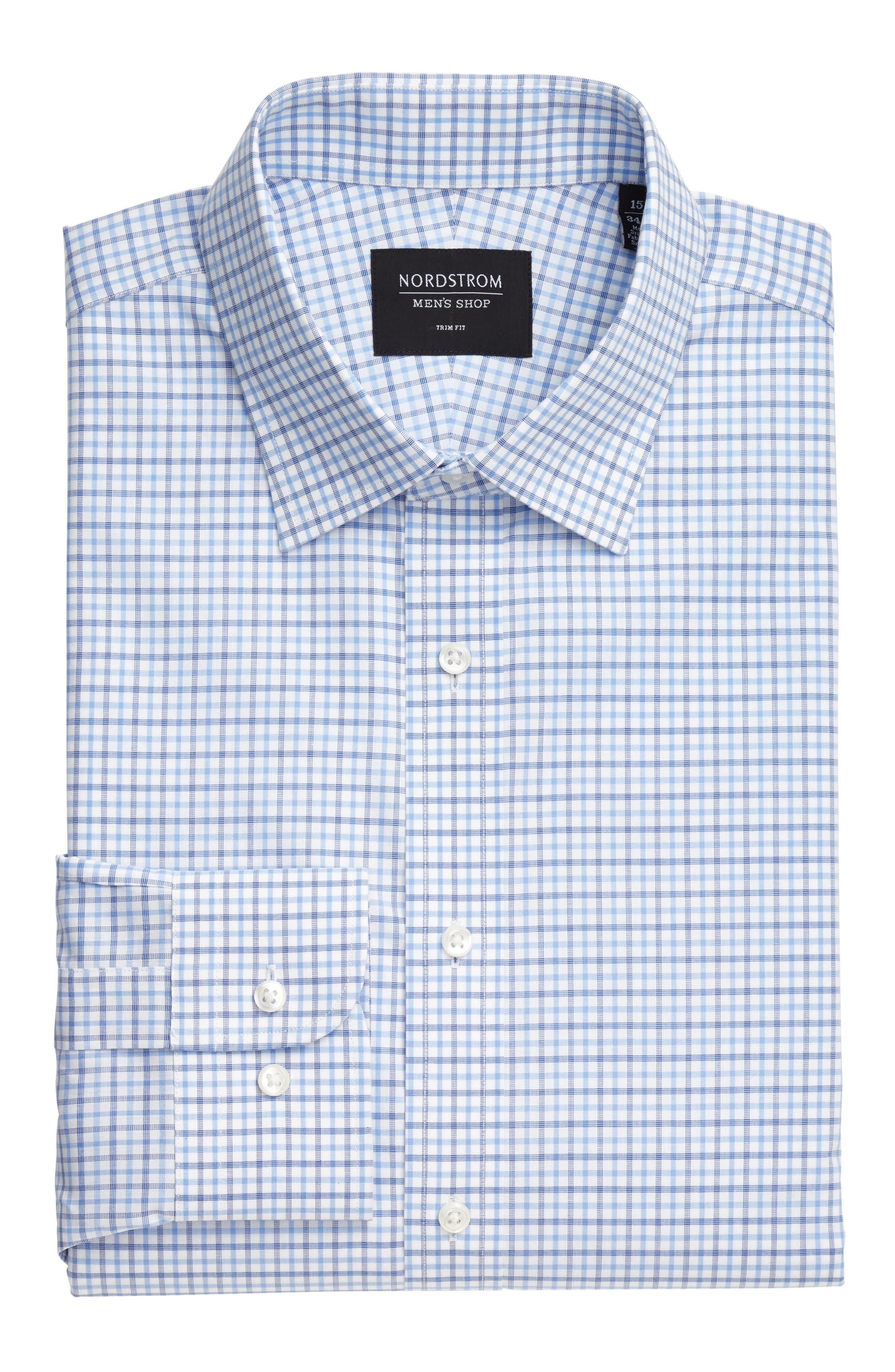 Classic Fit Check Dress Shirt,                             Alternate thumbnail 5, color,                             Blue Marine