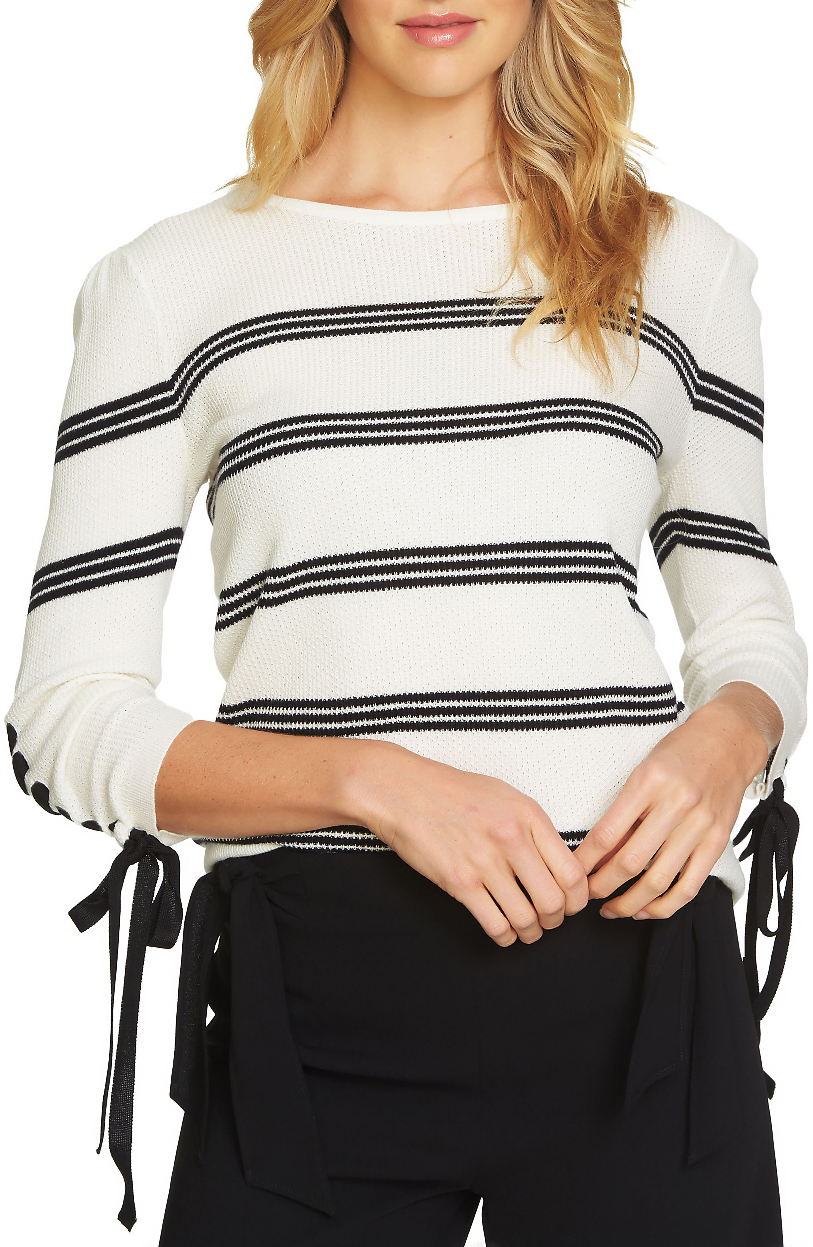 Lace-Up Sleeve Stripe Sweater,                             Main thumbnail 1, color,                             Antique White