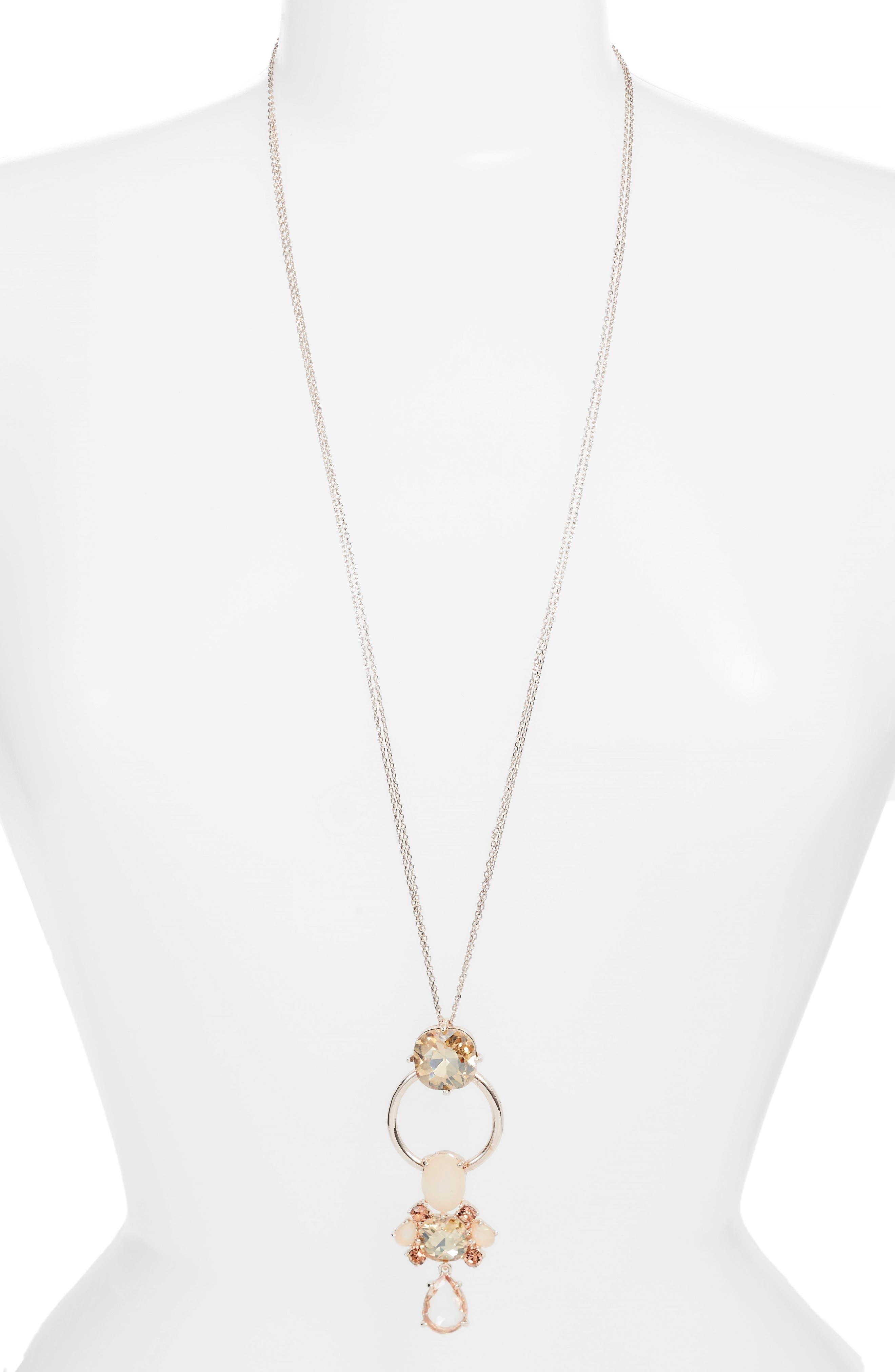 Jewel Pendant Necklace,                             Main thumbnail 1, color,                             Pink Multi- Rose Gold
