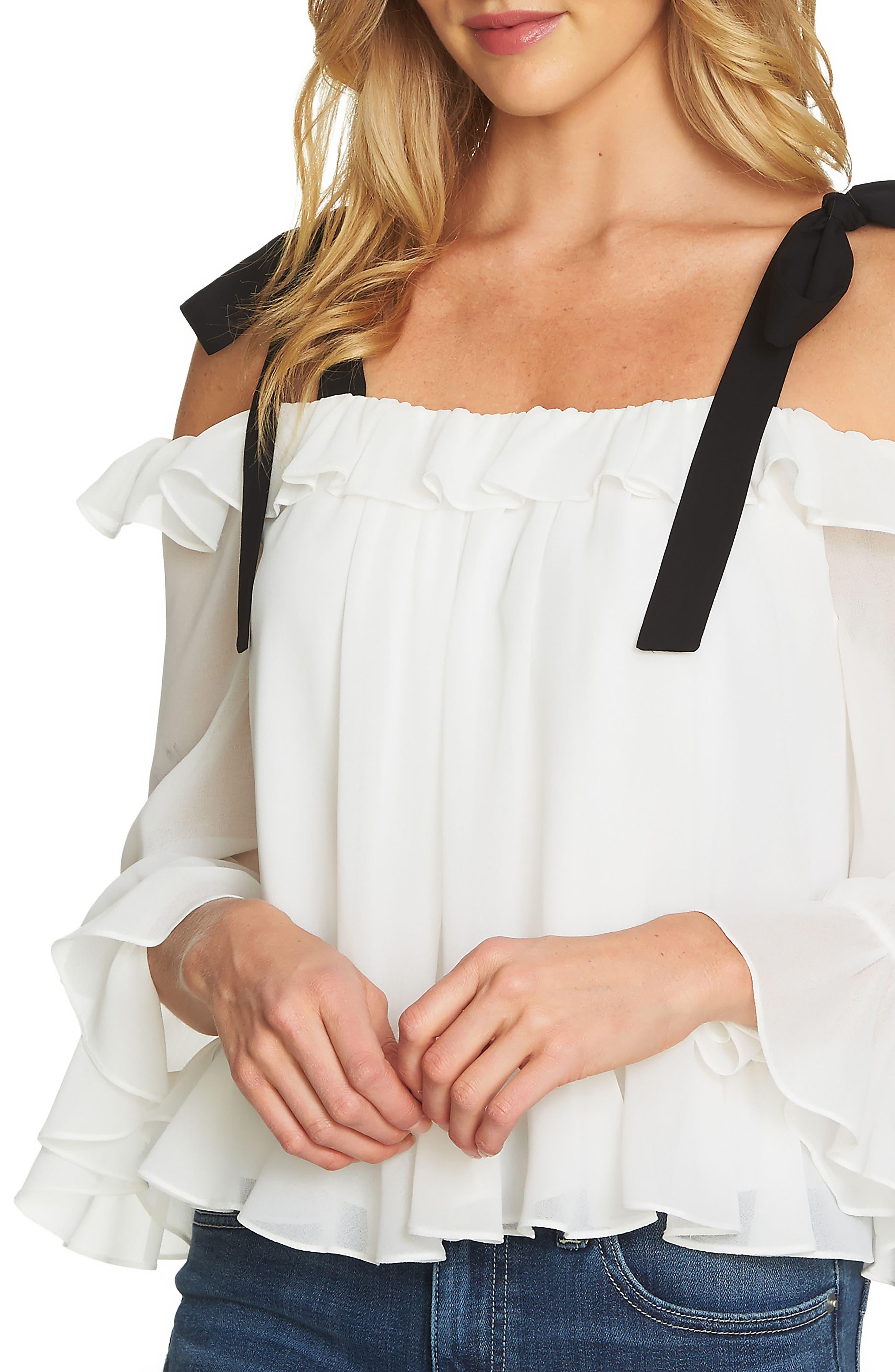Alternate Image 1 Selected - CeCe Ruffled Tie-Shoulder Blouse